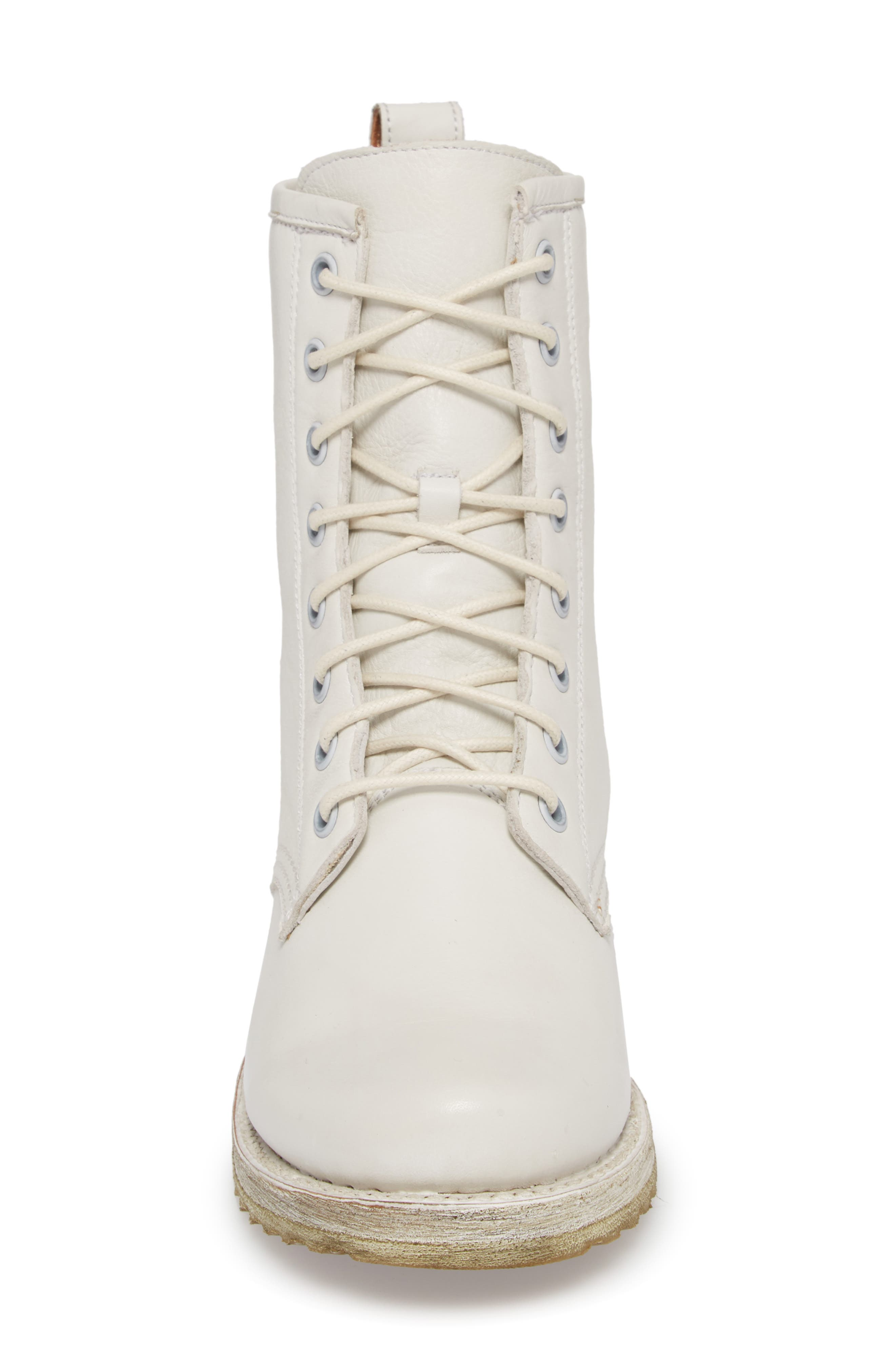 FRYE, Veronica Combat Boot, Alternate thumbnail 4, color, WHITE LEATHER
