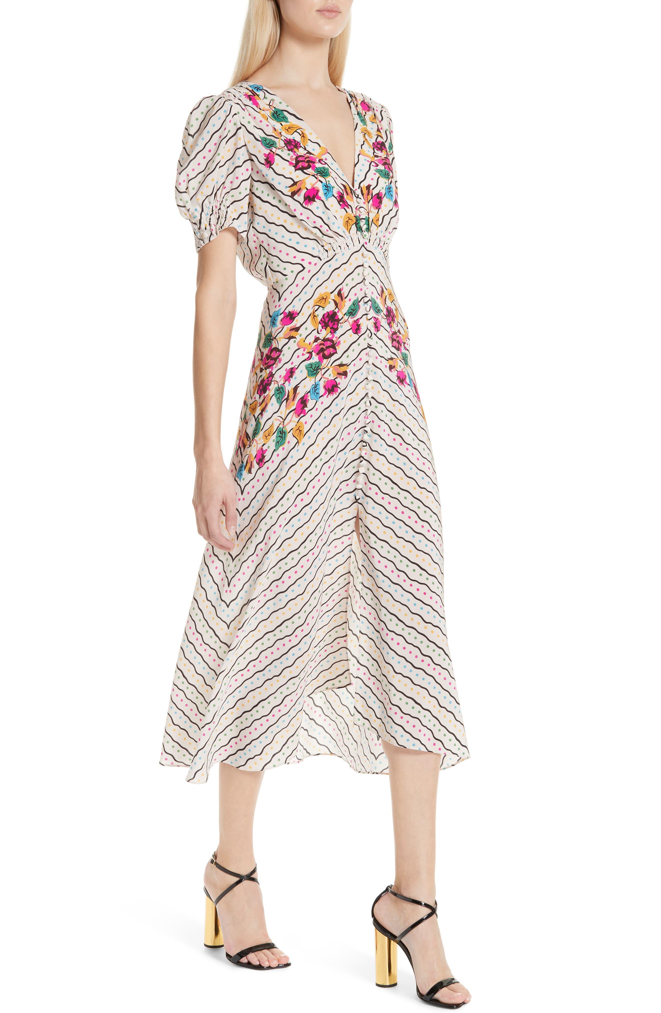 SALONI, Lea Silk Midi Dress, Alternate thumbnail 5, color, JAPONICA WIGGLE PLACEMENT