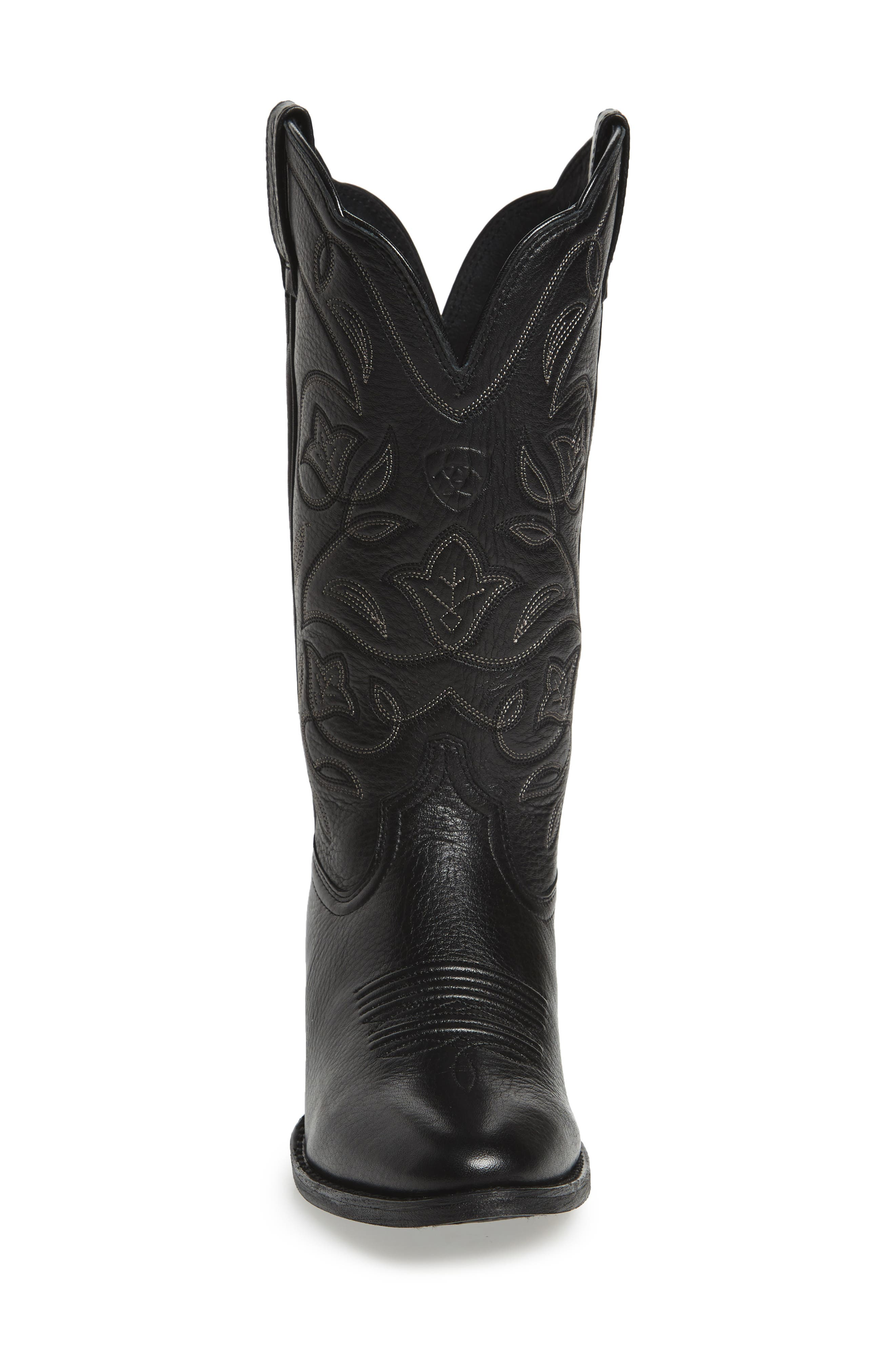 ARIAT, Heritage Western R-Toe Boot, Alternate thumbnail 3, color, BLACK LEATHER