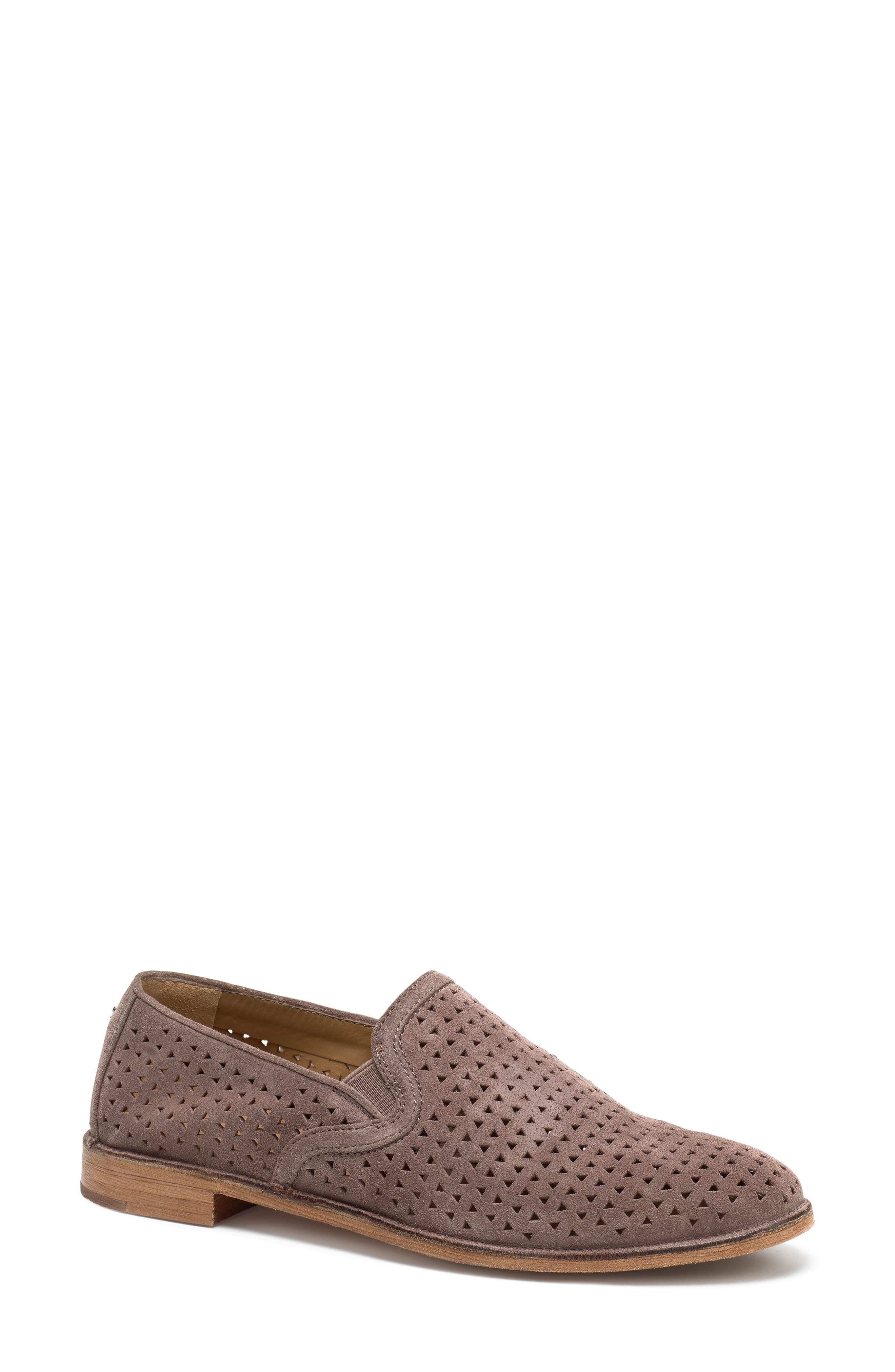 TRASK, Ali Perforated Loafer, Main thumbnail 1, color, BLUSH SUEDE