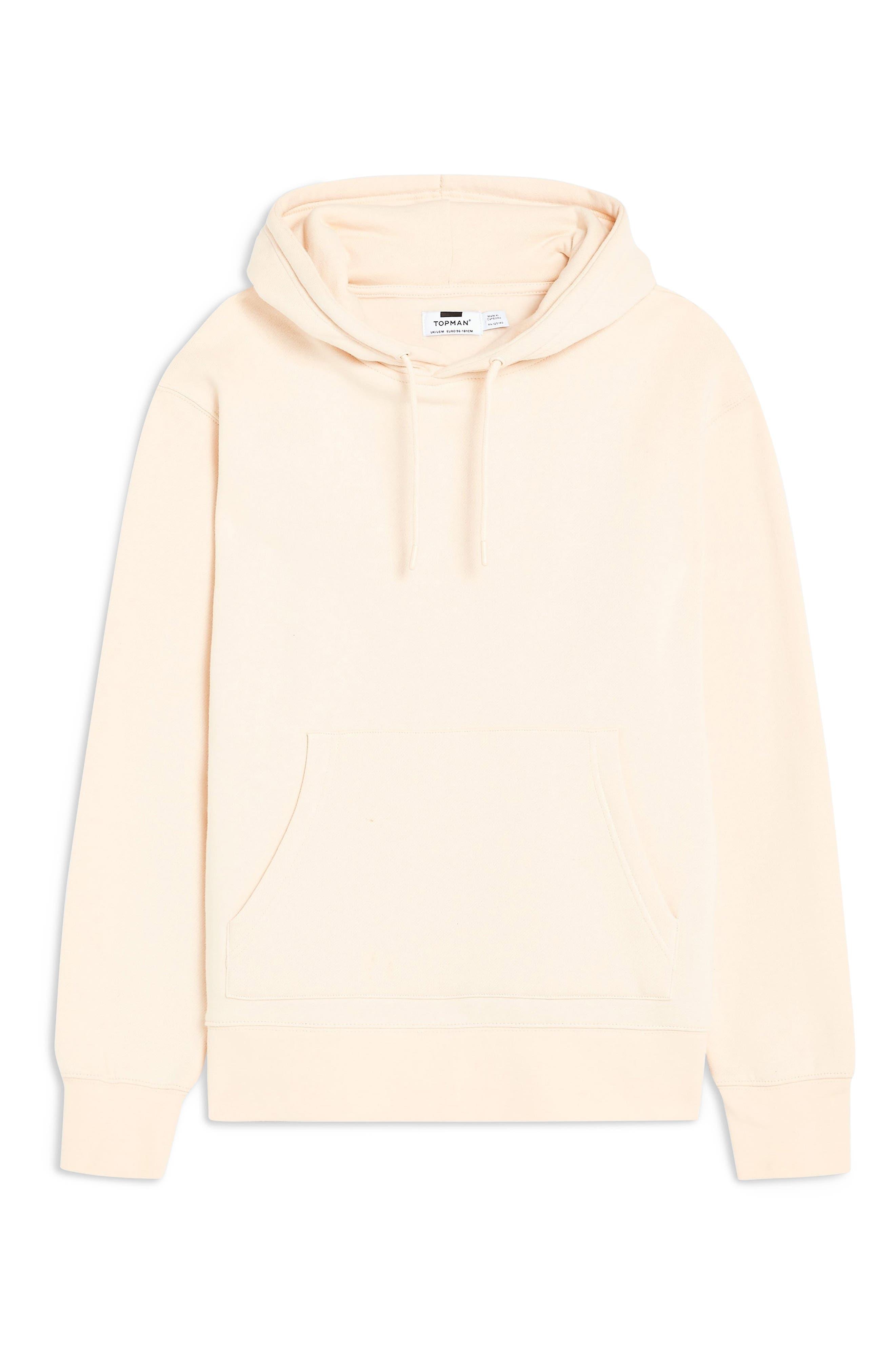 TOPMAN, Tristan Hooded Sweatshirt, Alternate thumbnail 3, color, STONE