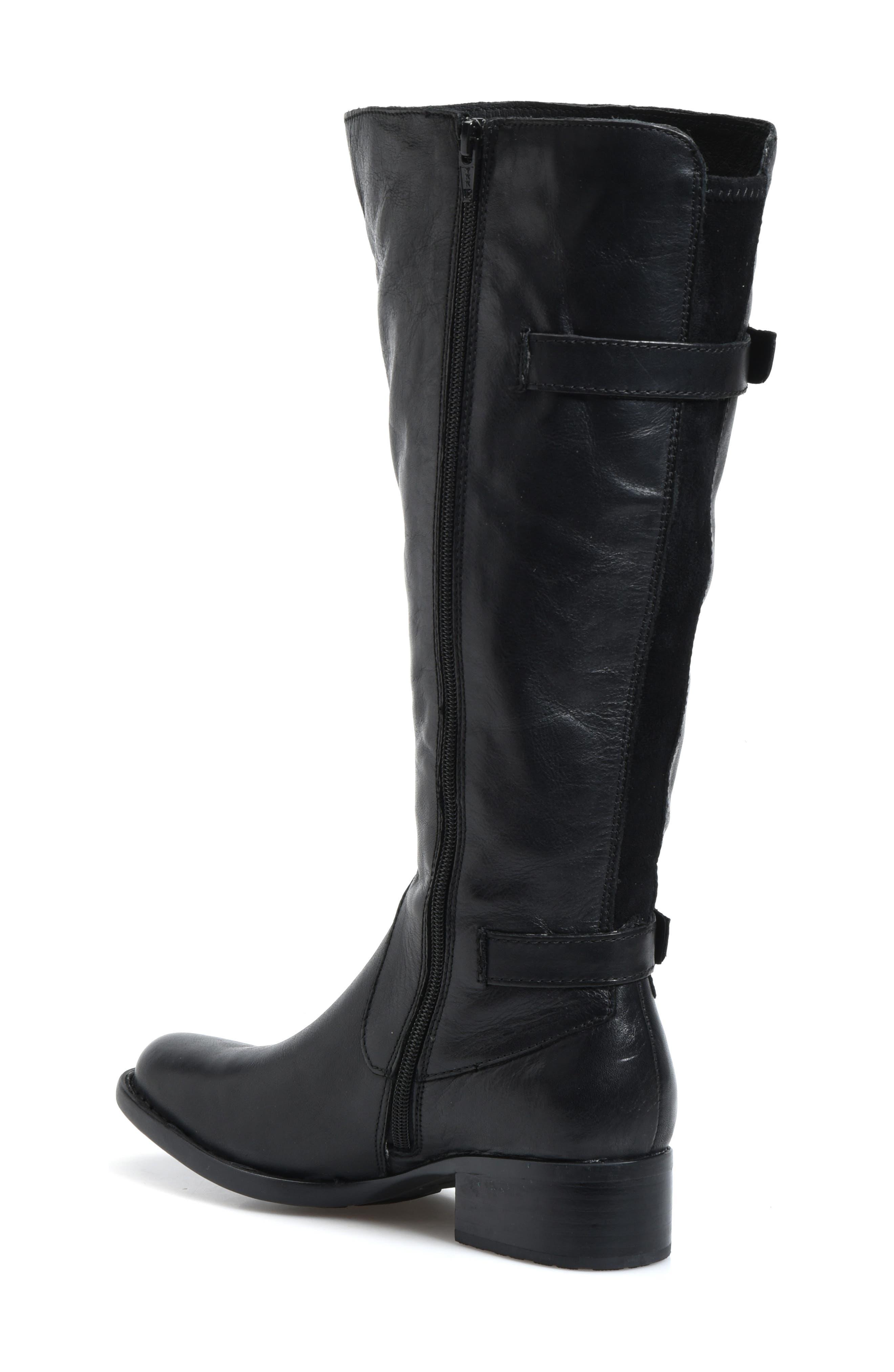 BØRN, Gibb Knee High Riding Boot, Alternate thumbnail 2, color, BLACK LEATHER