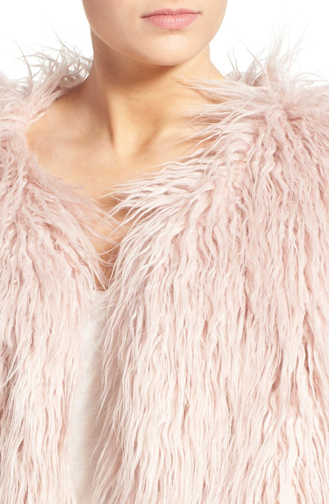 PAM & GELA, 'Mongolian' Faux Fur Coat, Alternate thumbnail 2, color, 650