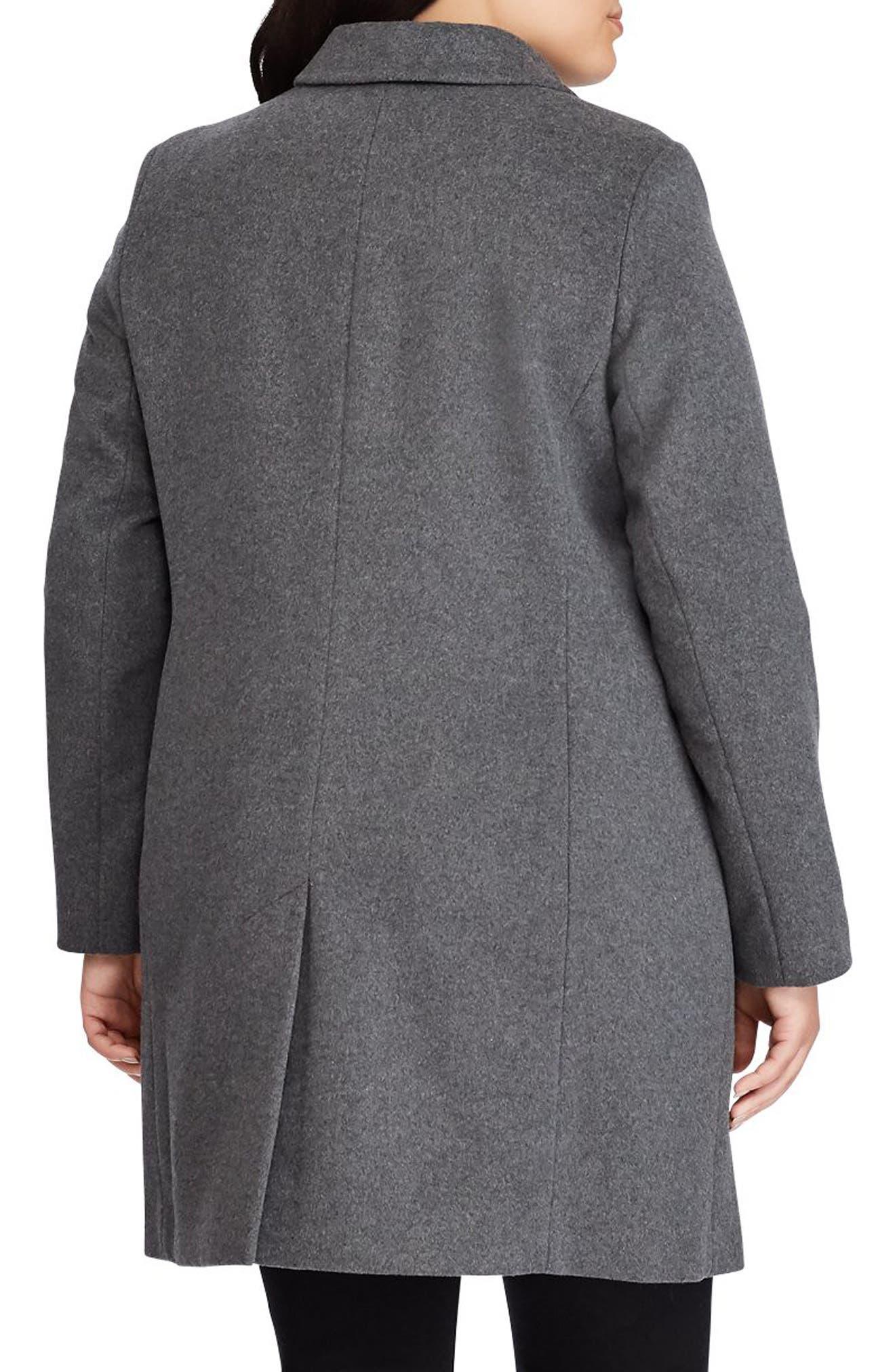 LAUREN RALPH LAUREN, Wool Blend Reefer Coat, Alternate thumbnail 2, color, 026