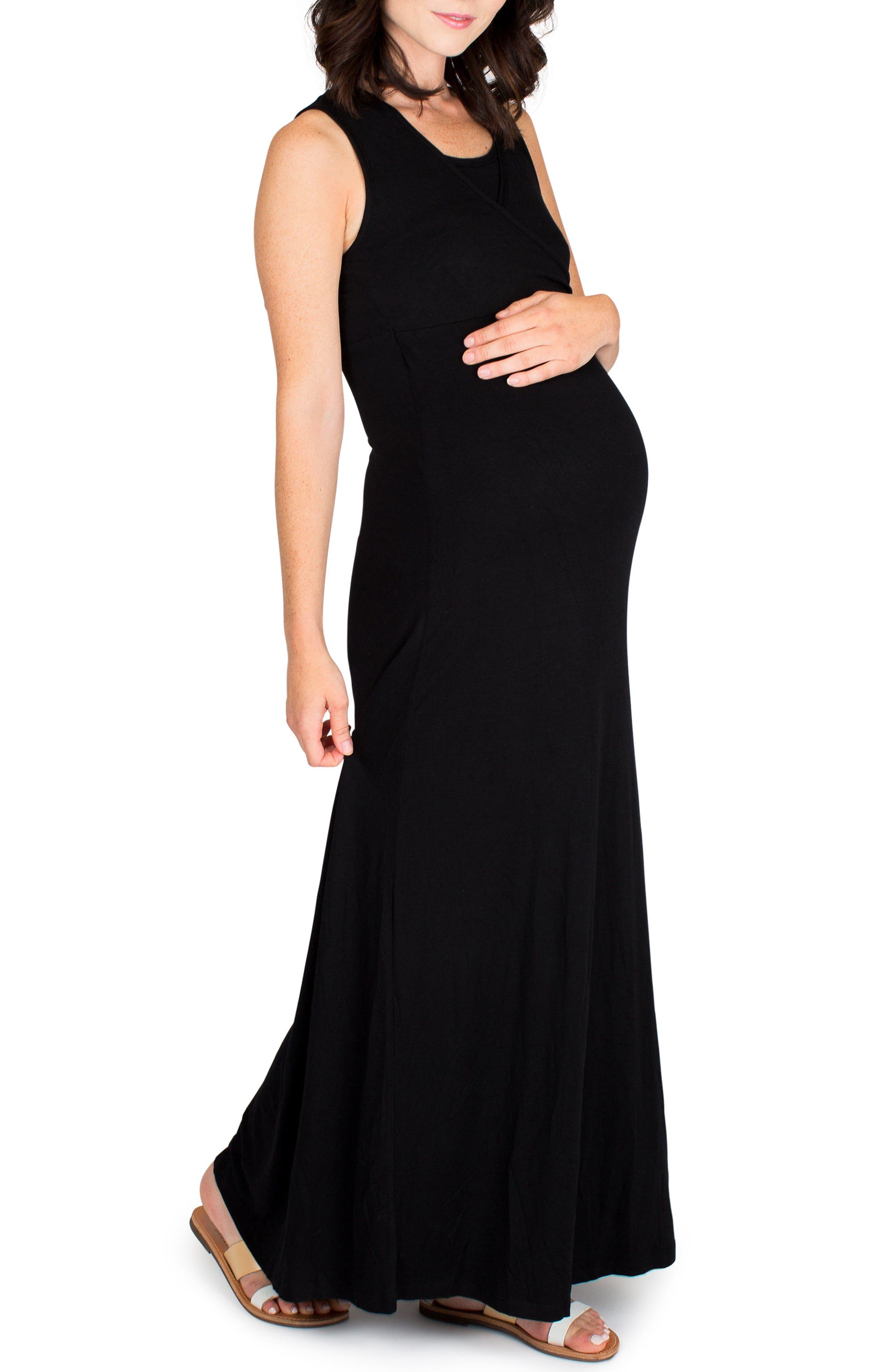 Nom Maternity Jersey Maternity/nursing Dress, Black