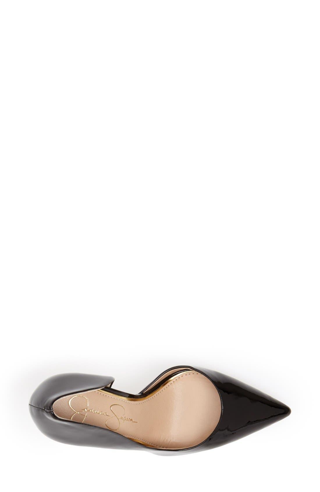 JESSICA SIMPSON, 'Claudette' Half d'Orsay Pump, Alternate thumbnail 4, color, 001