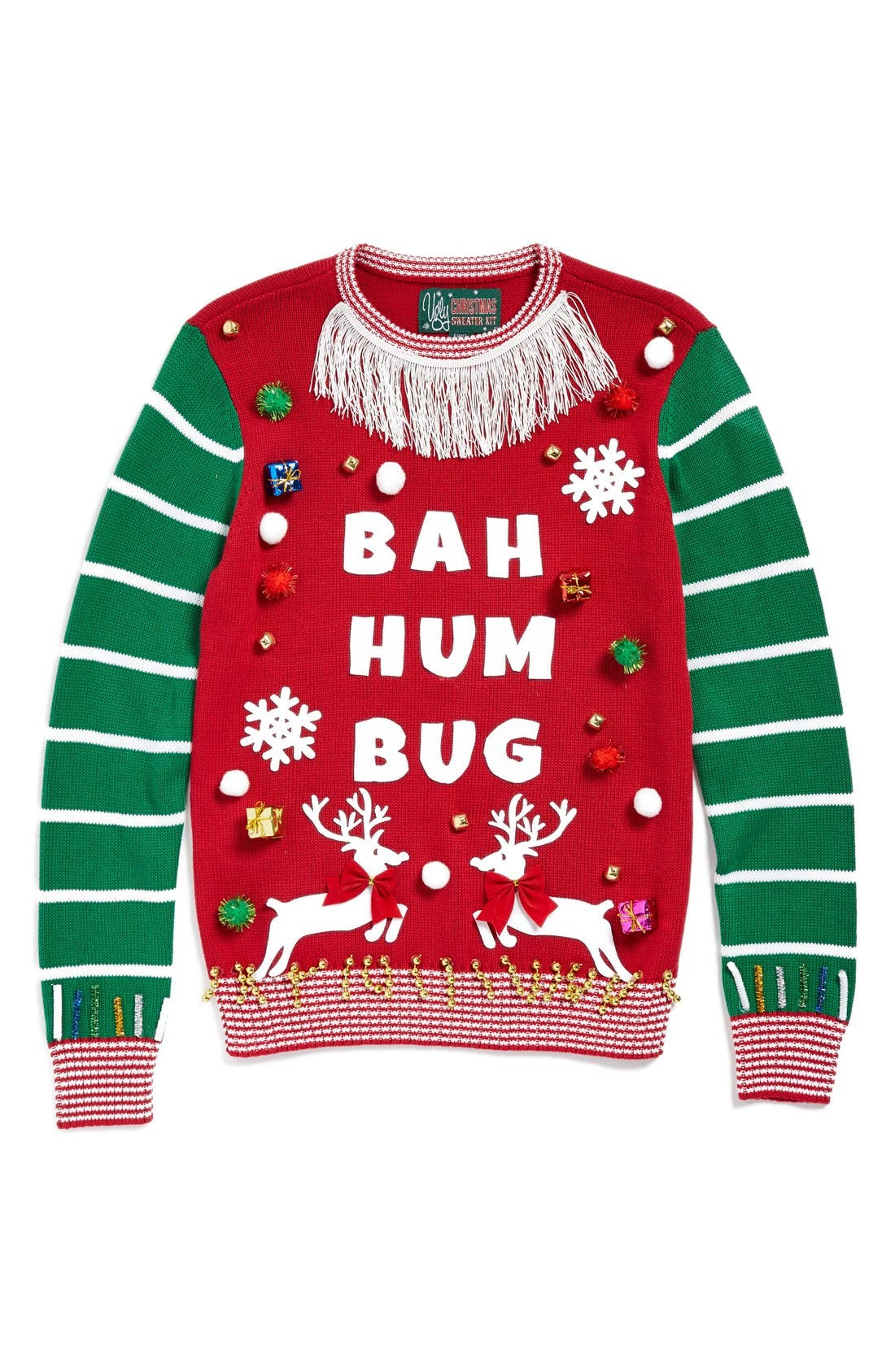 UGLY CHRISTMAS SWEATER 'Make Your Own - White Stripe' Sweater Kit, Main, color, 610