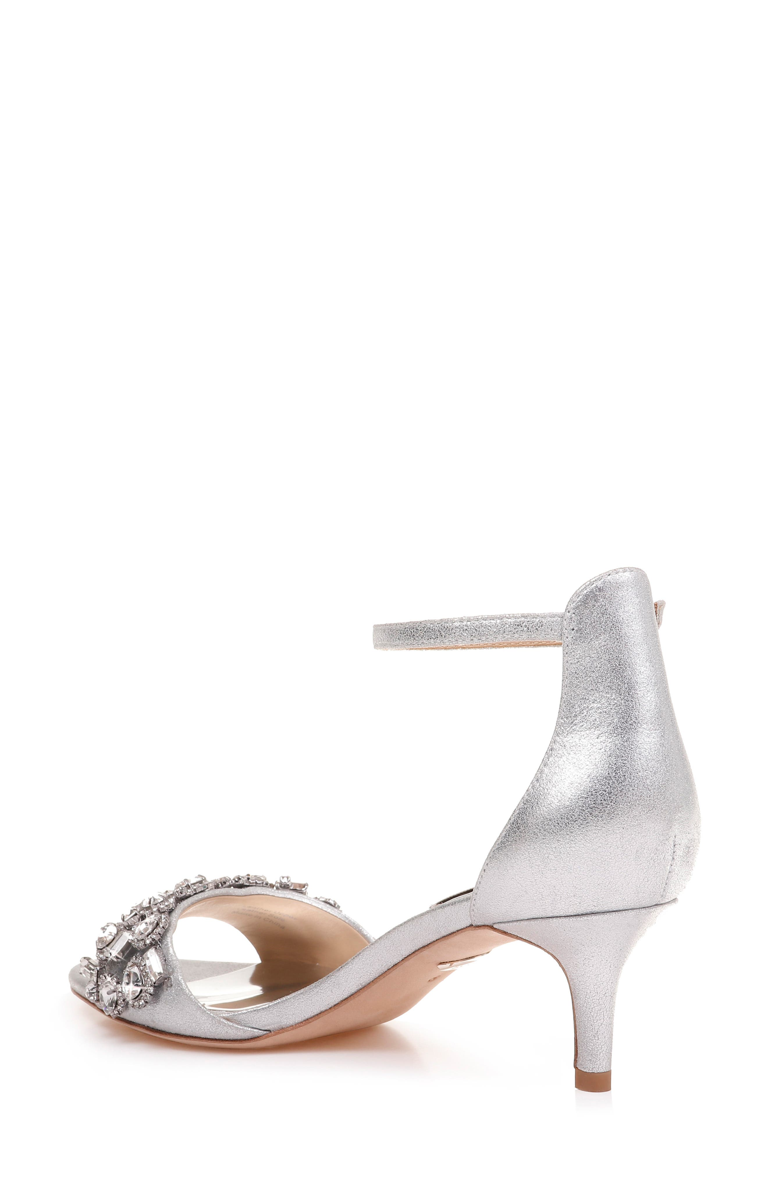 BADGLEY MISCHKA COLLECTION, Badgley Mischka Lara Crystal Embellished Sandal, Alternate thumbnail 3, color, SILVER METALLIC SUEDE