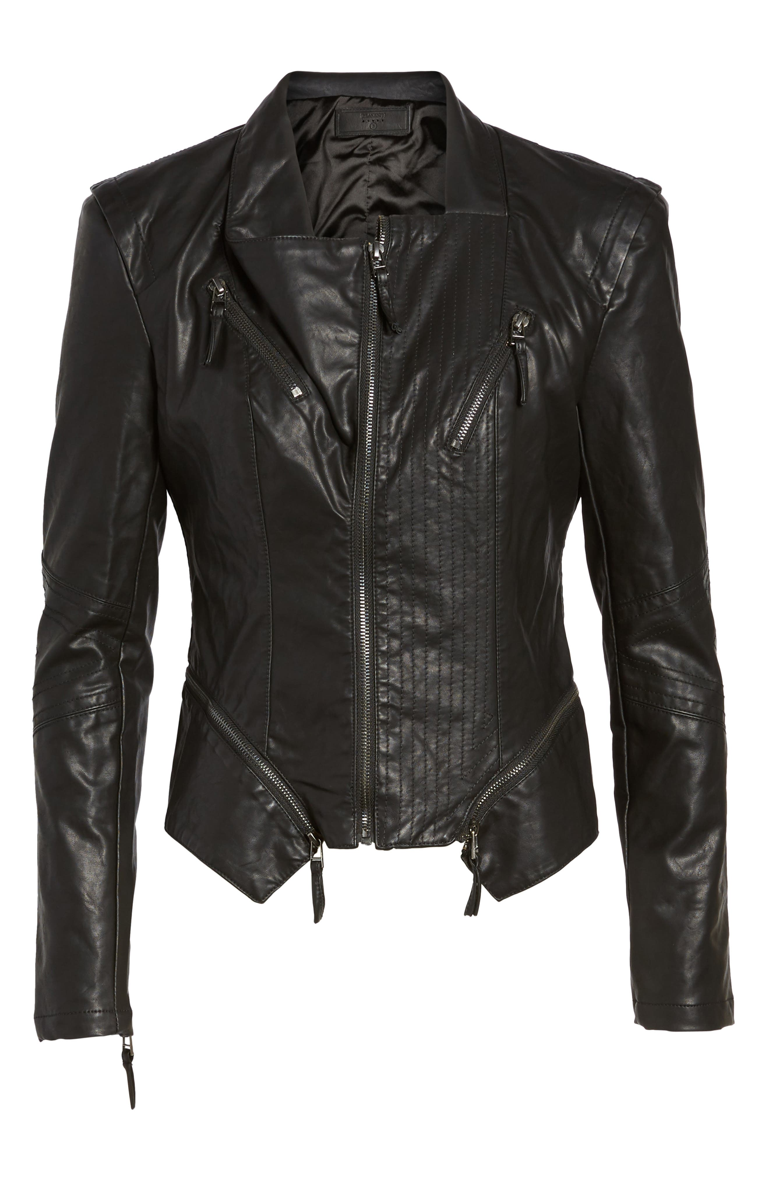 BLANKNYC, Faux Leather Jacket, Alternate thumbnail 6, color, BLACK