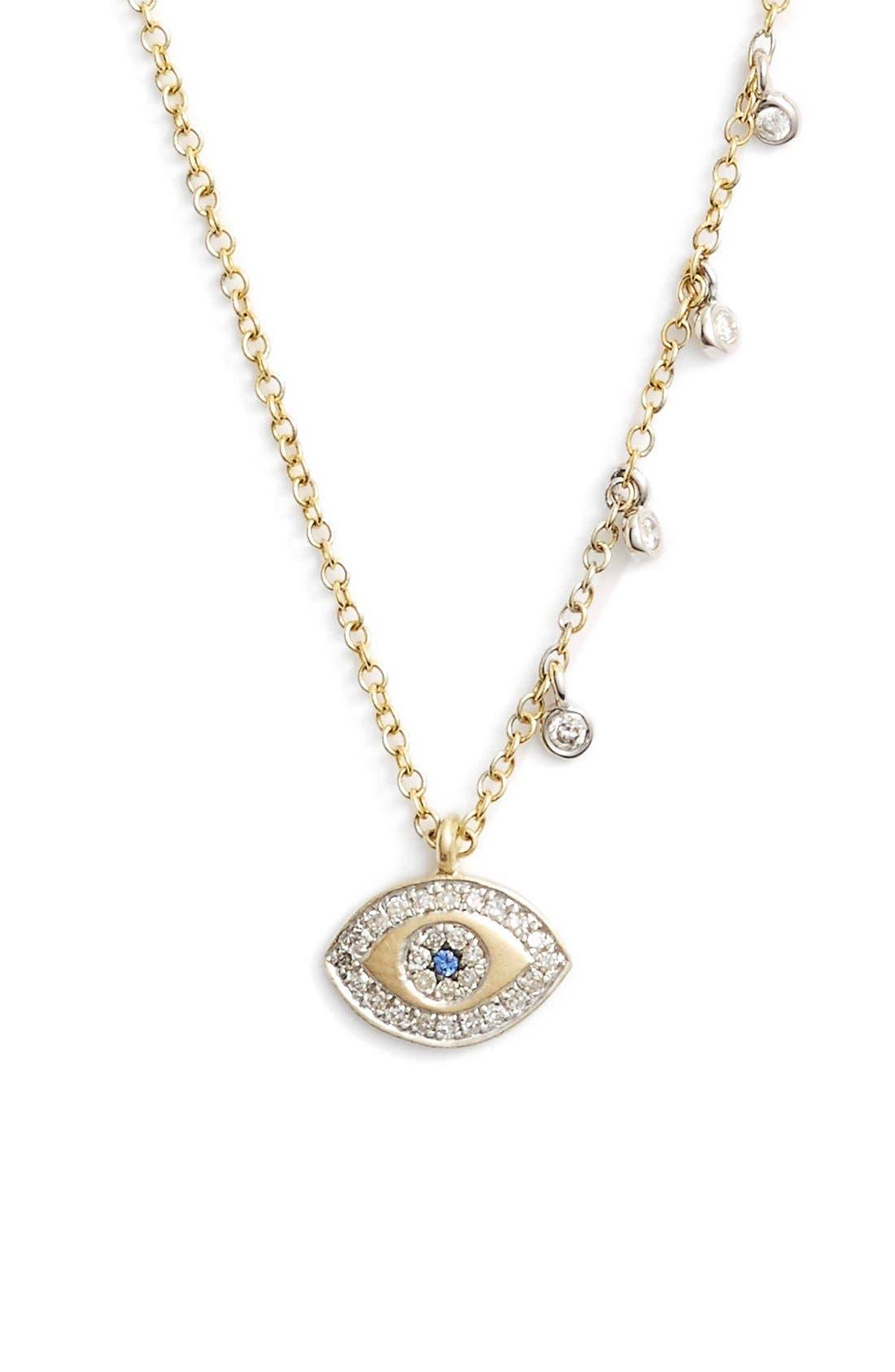 MEIRA T, Evil Eye Diamond Pendant Necklace, Main thumbnail 1, color, YELLOW GOLD