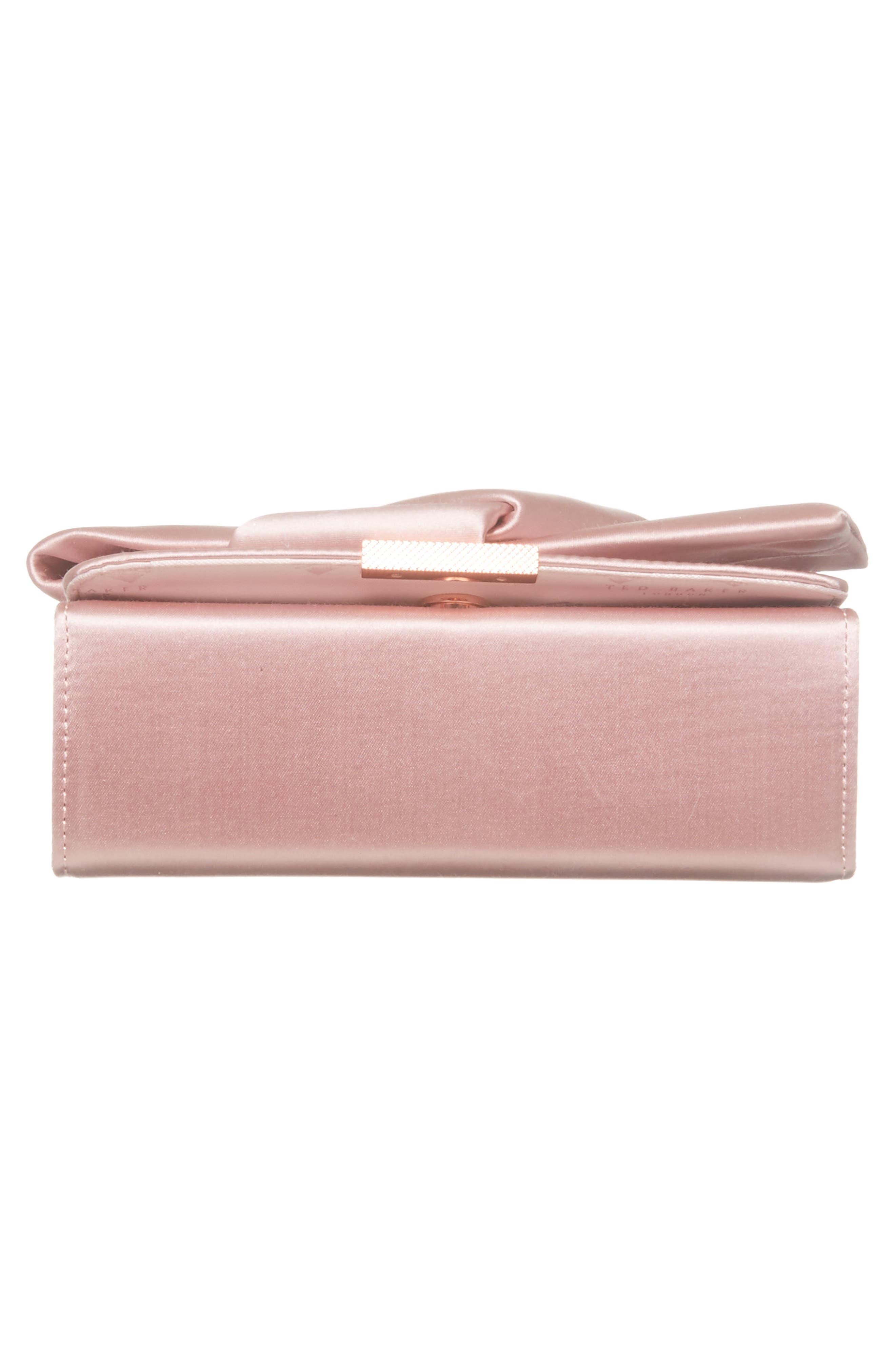 TED BAKER LONDON, Fefee Satin Knotted Bow Clutch, Alternate thumbnail 7, color, LIGHT PINK