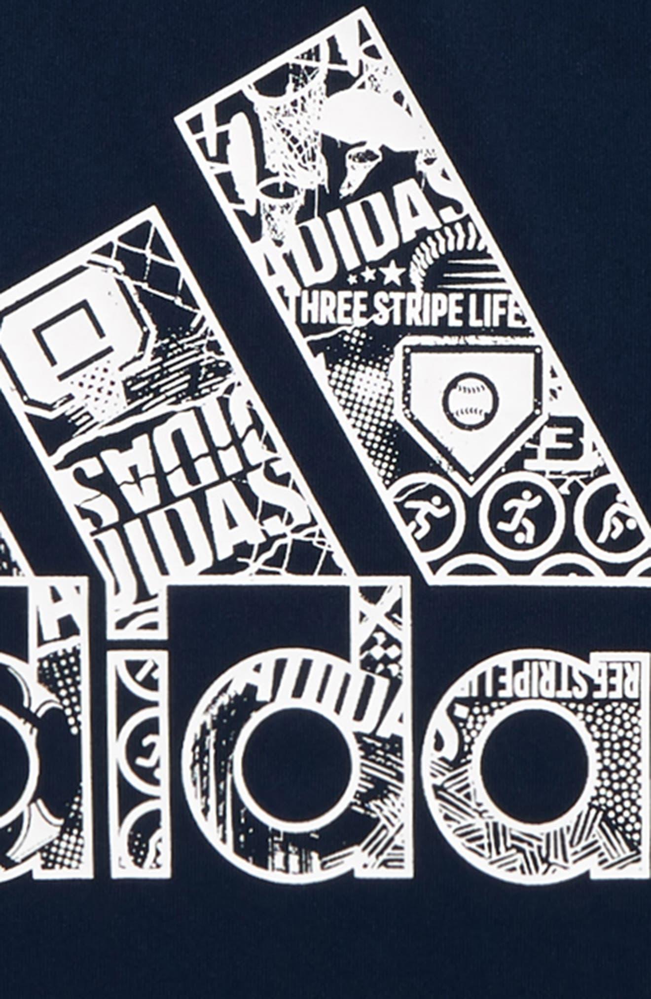 ADIDAS, Multi Sport T-Shirt, Alternate thumbnail 2, color, NAVY