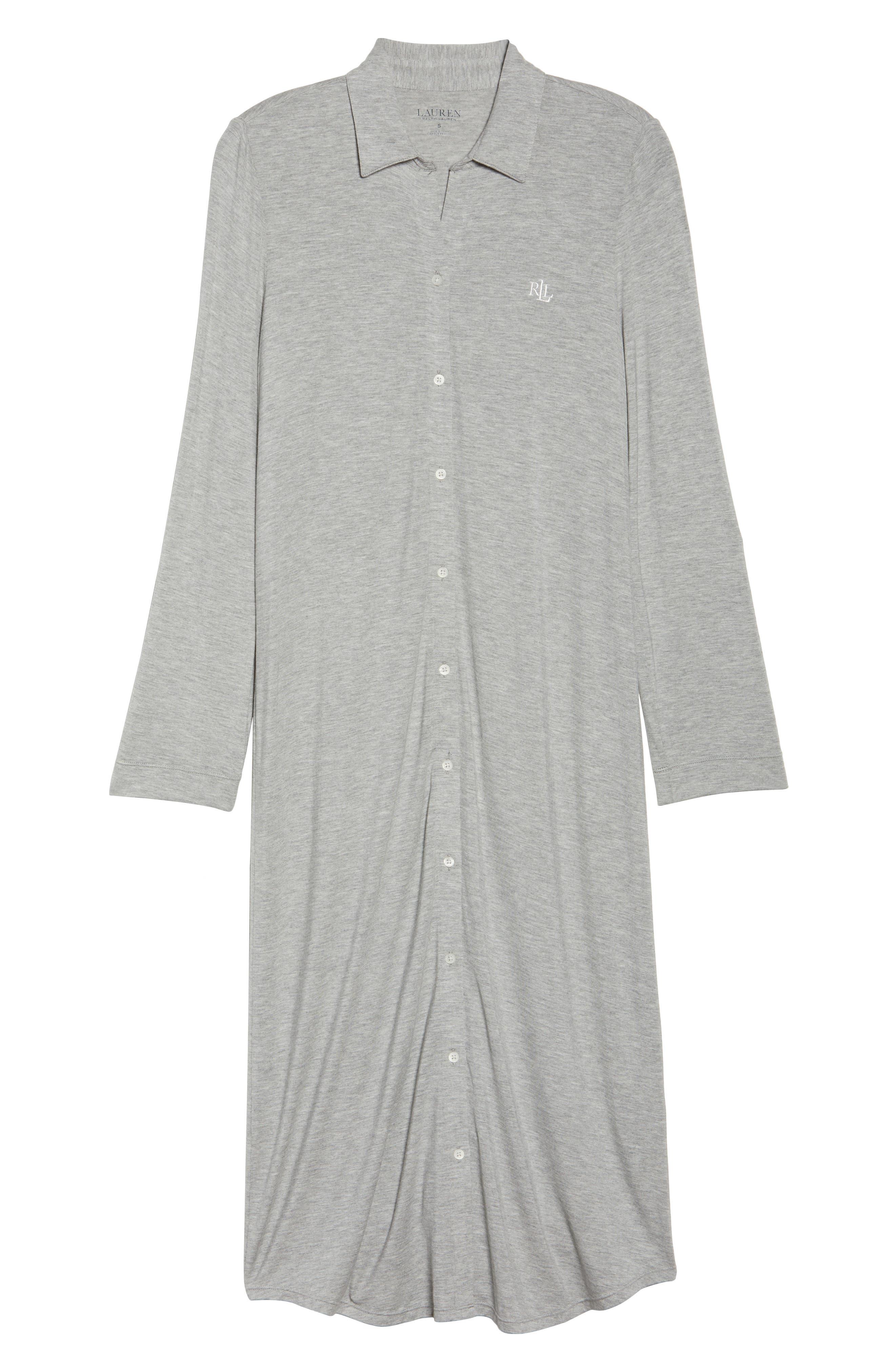 LAUREN RALPH LAUREN, Ballet Jersey Sleep Shirt, Alternate thumbnail 6, color, HEATHER GREY FEEDER STRIPE