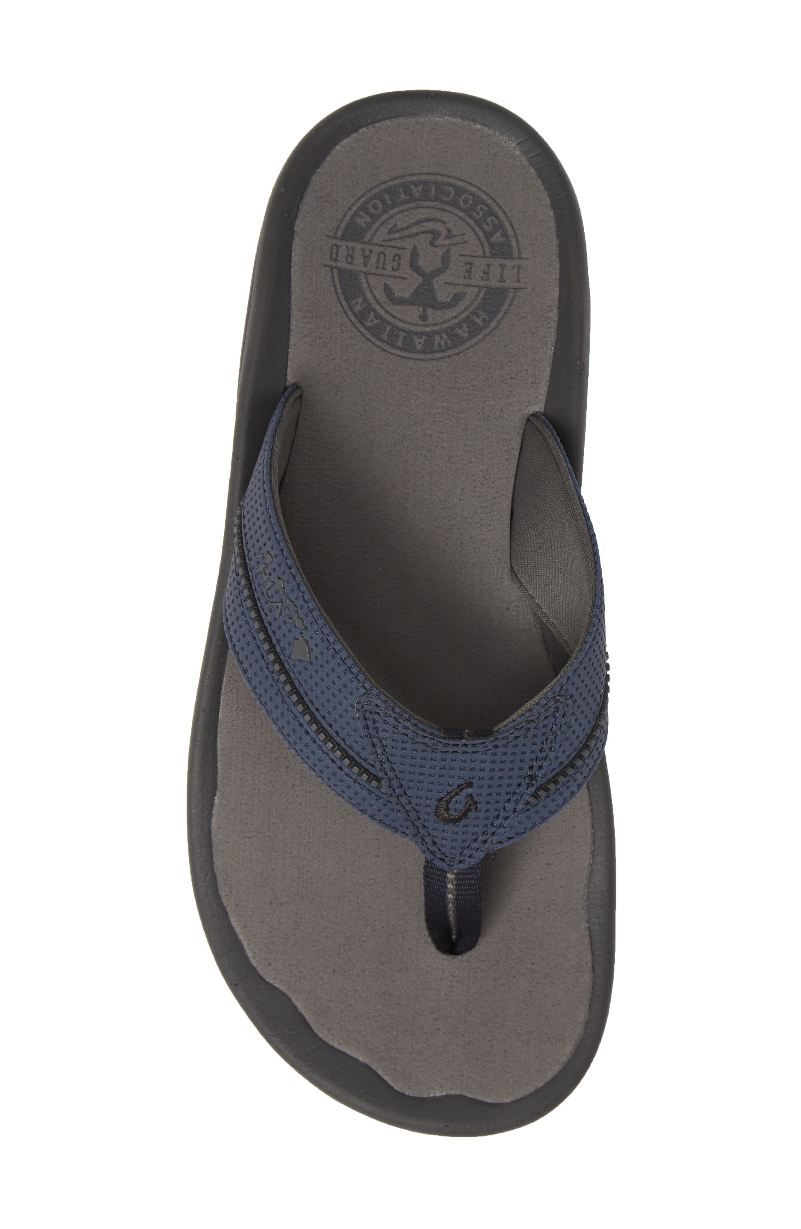 OLUKAI, 'Kia'i II' Flip Flop, Alternate thumbnail 5, color, TRENCH BLUE/ CHARCOAL