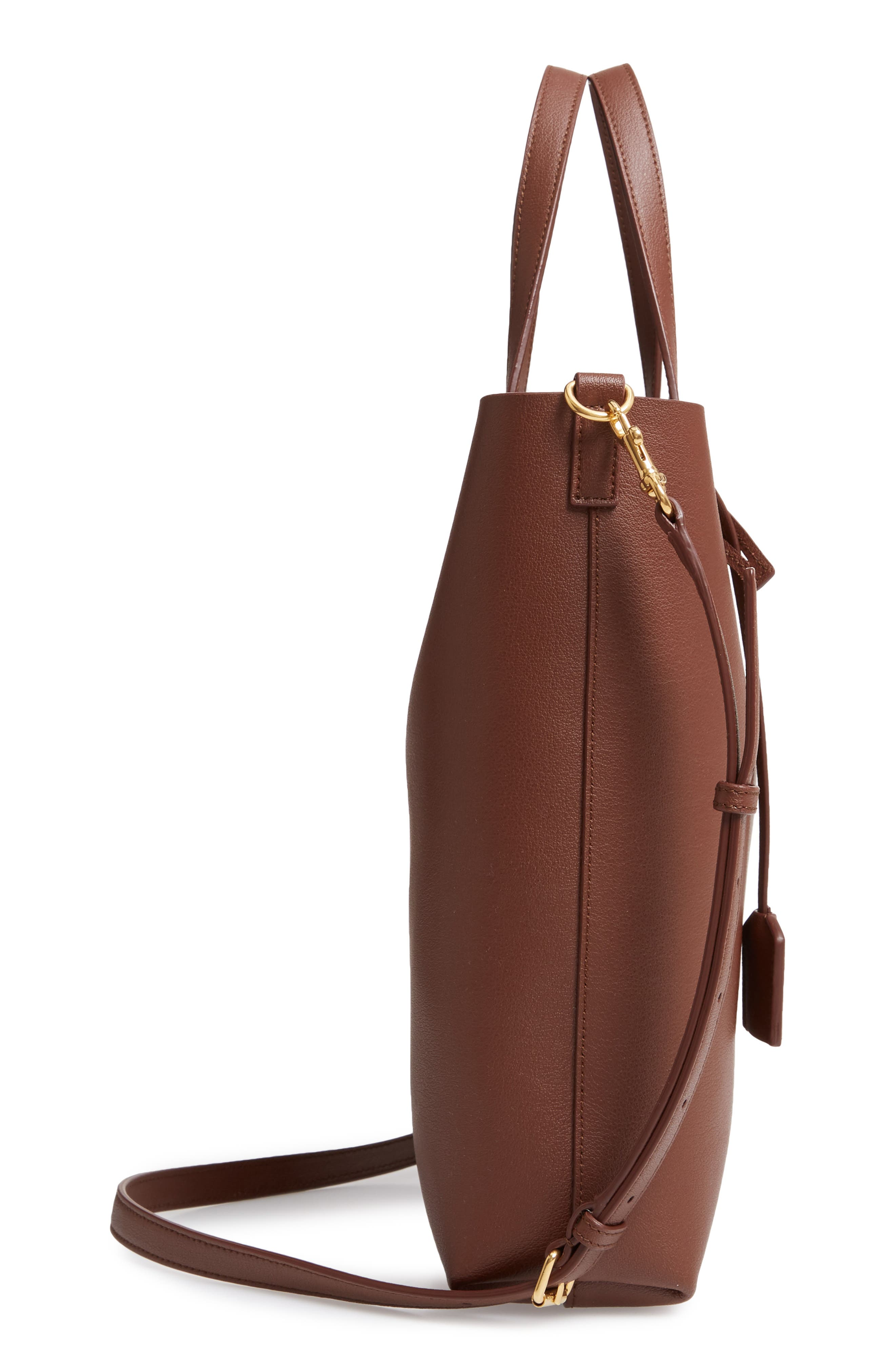 SAINT LAURENT, Toy Shopping Leather Tote, Alternate thumbnail 5, color, BRANDY OLD
