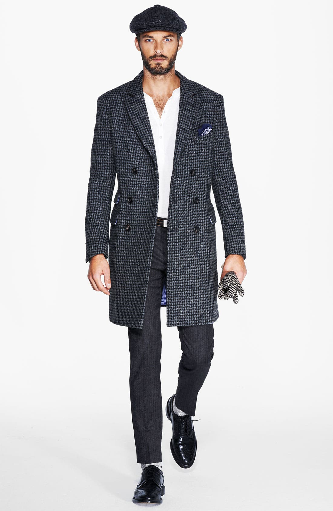 MICHAEL BASTIAN, Double Breasted Houndstooth Topcoat, Alternate thumbnail 3, color, 028