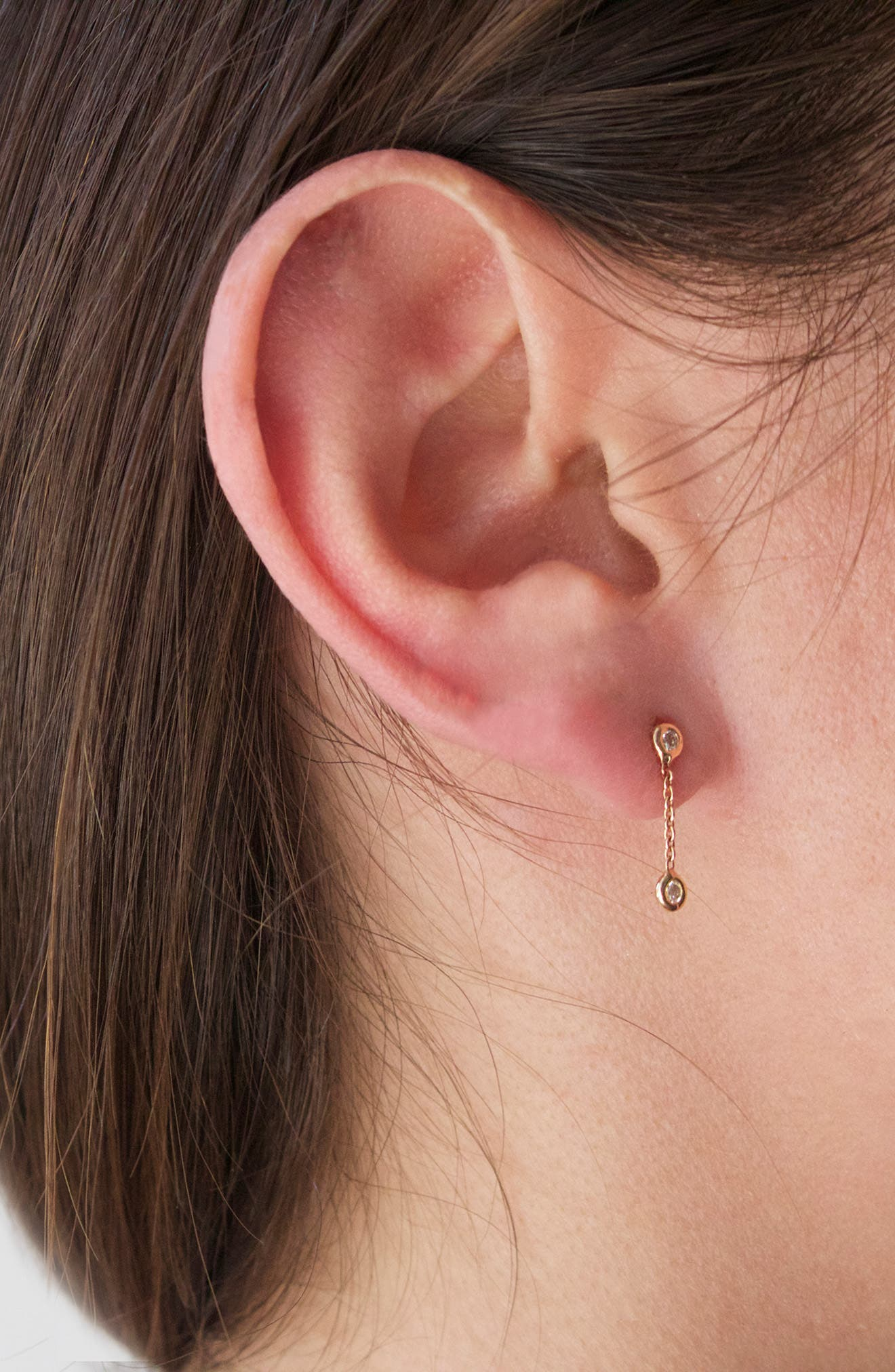KISMET BY MILKA, Double Diamond Solitaire Chain Earring, Alternate thumbnail 3, color, ROSE GOLD/ DIAMOND