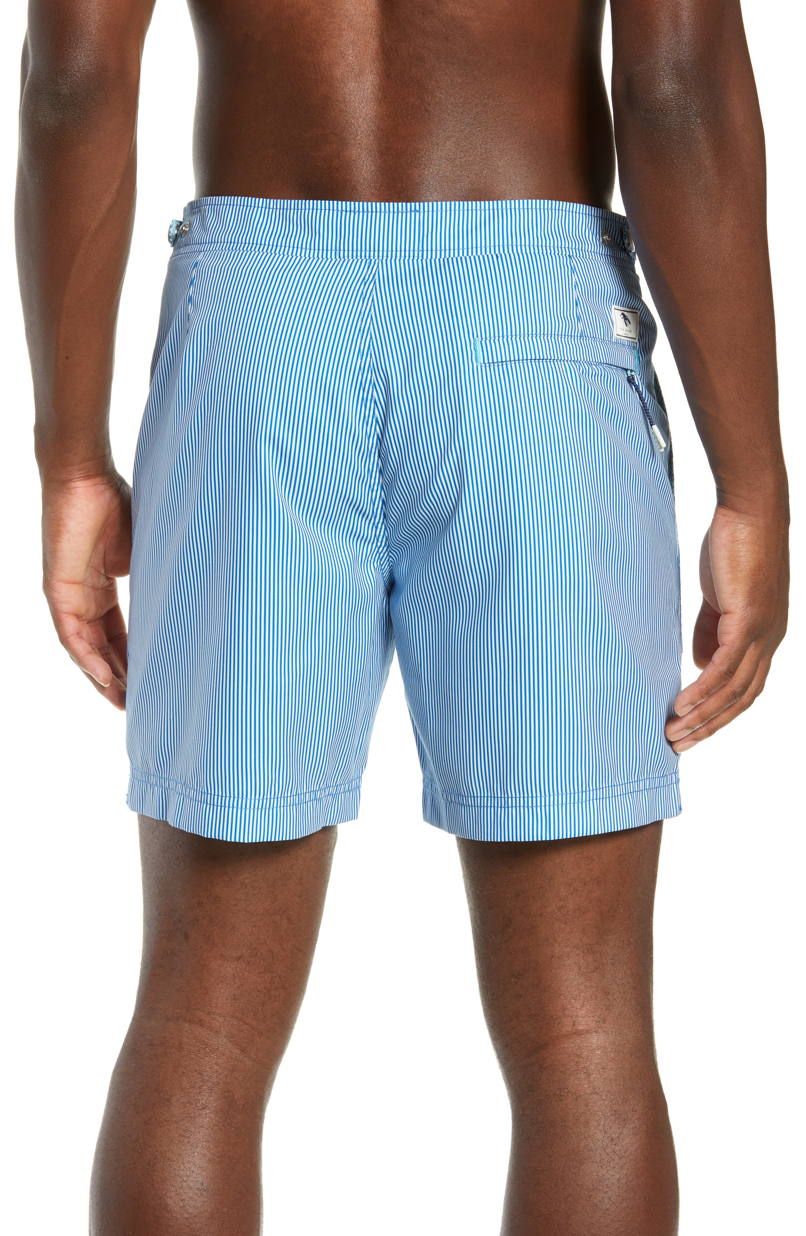 TED BAKER LONDON, Seel Stripe Swim Trunks, Alternate thumbnail 2, color, BLUE