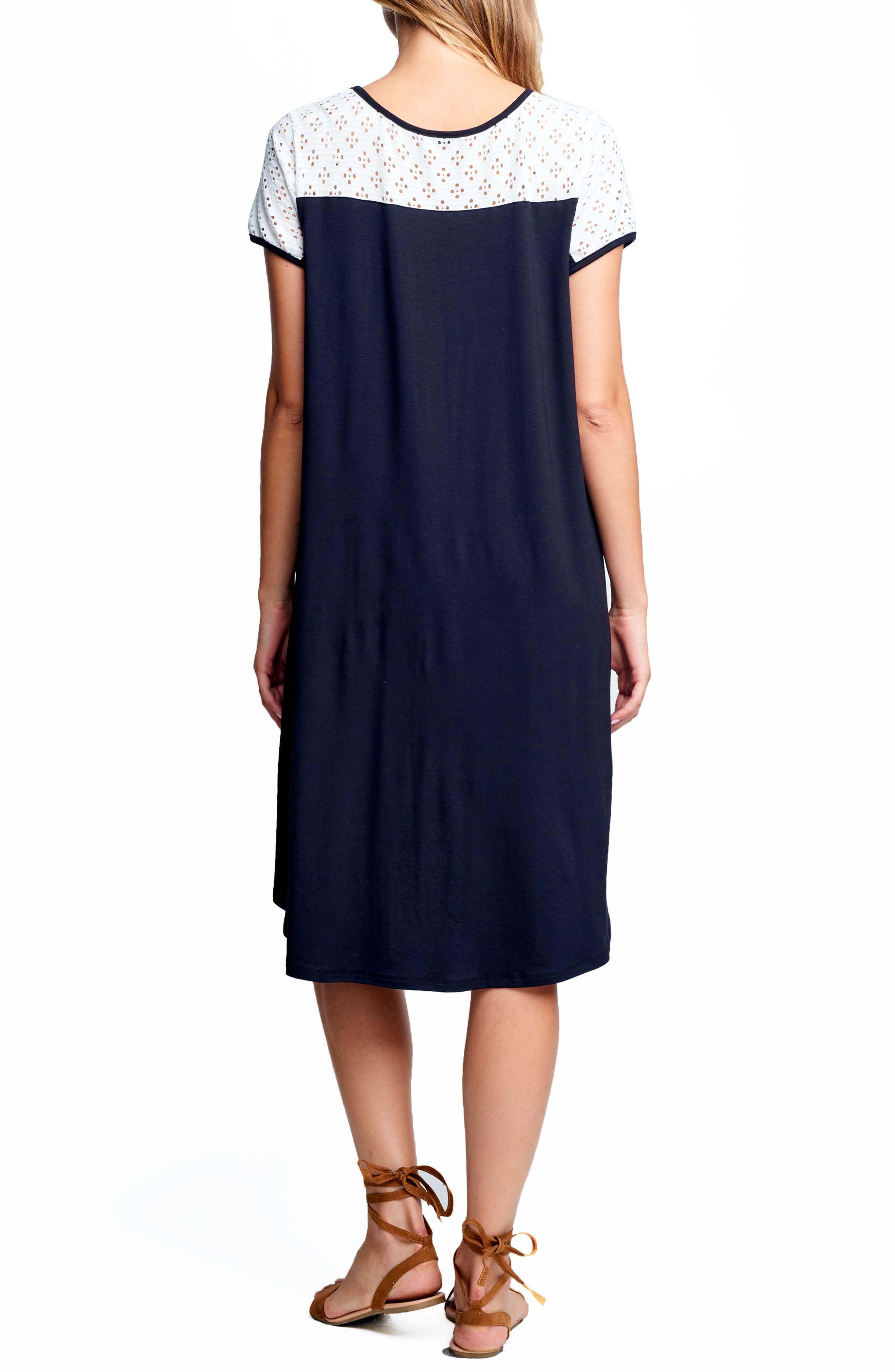 MATERNAL AMERICA, Drape High/Low Maternity Dress, Alternate thumbnail 2, color, 100
