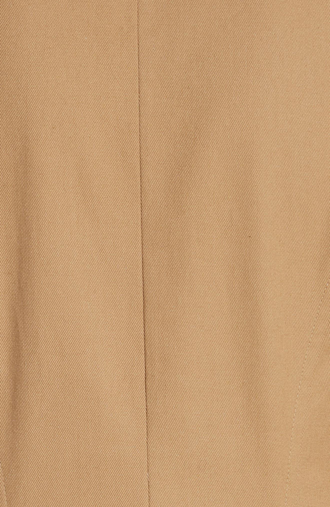 CALVIN KLEIN 205W39NYC, Western Twill A-Line Midi Dress, Alternate thumbnail 6, color, DUNE