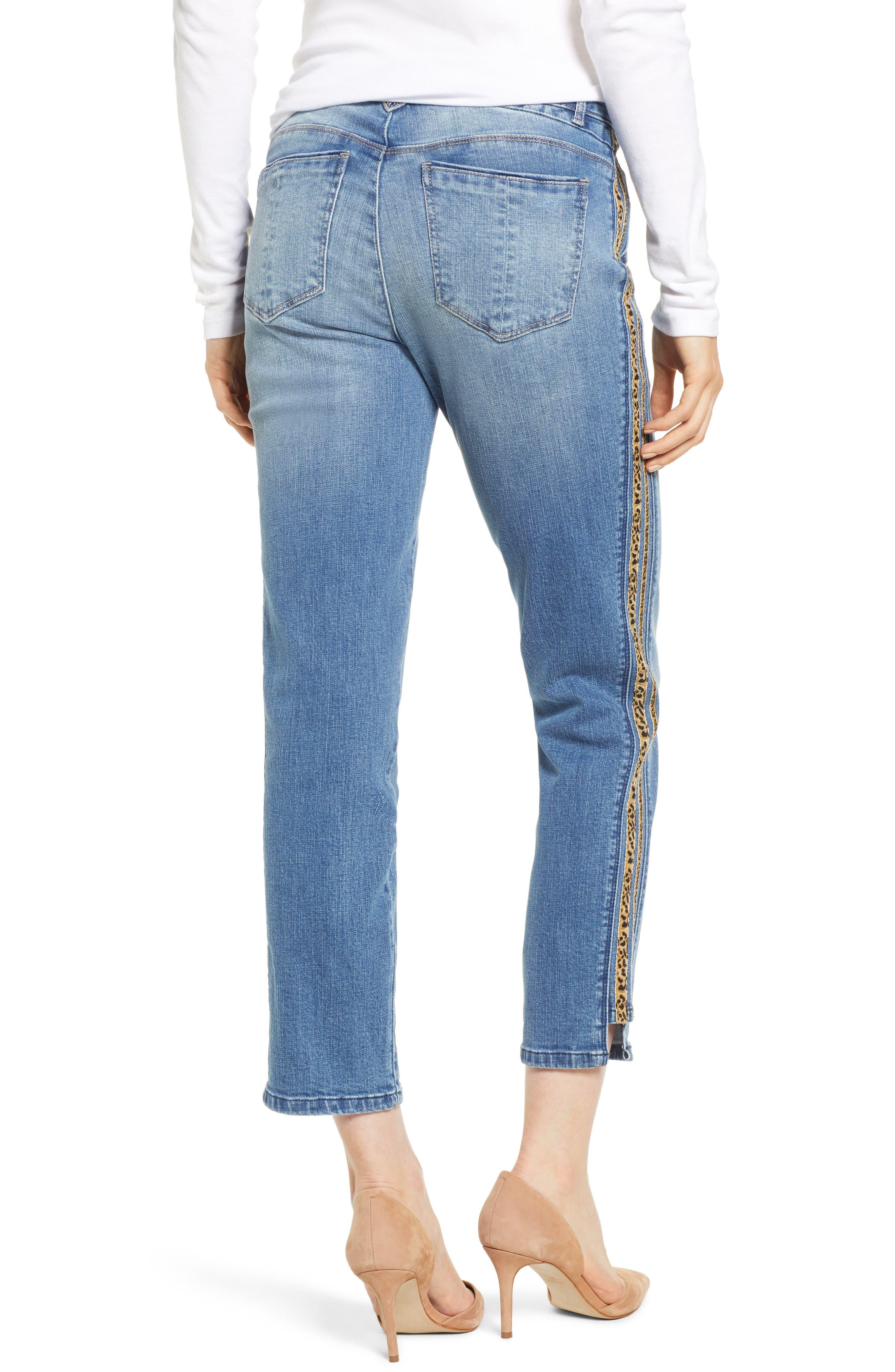 WIT & WISDOM, Flex-ellent Leopard Stripe Slim Straight Leg Jeans, Alternate thumbnail 2, color, 420