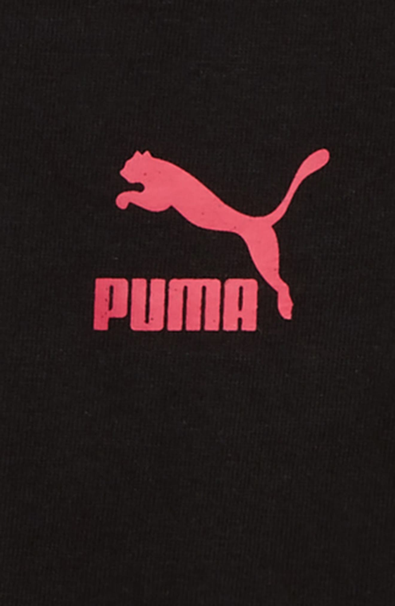 PUMA, Glitter Logo Mesh Sleeve Tee, Alternate thumbnail 3, color, PUMA BLACK