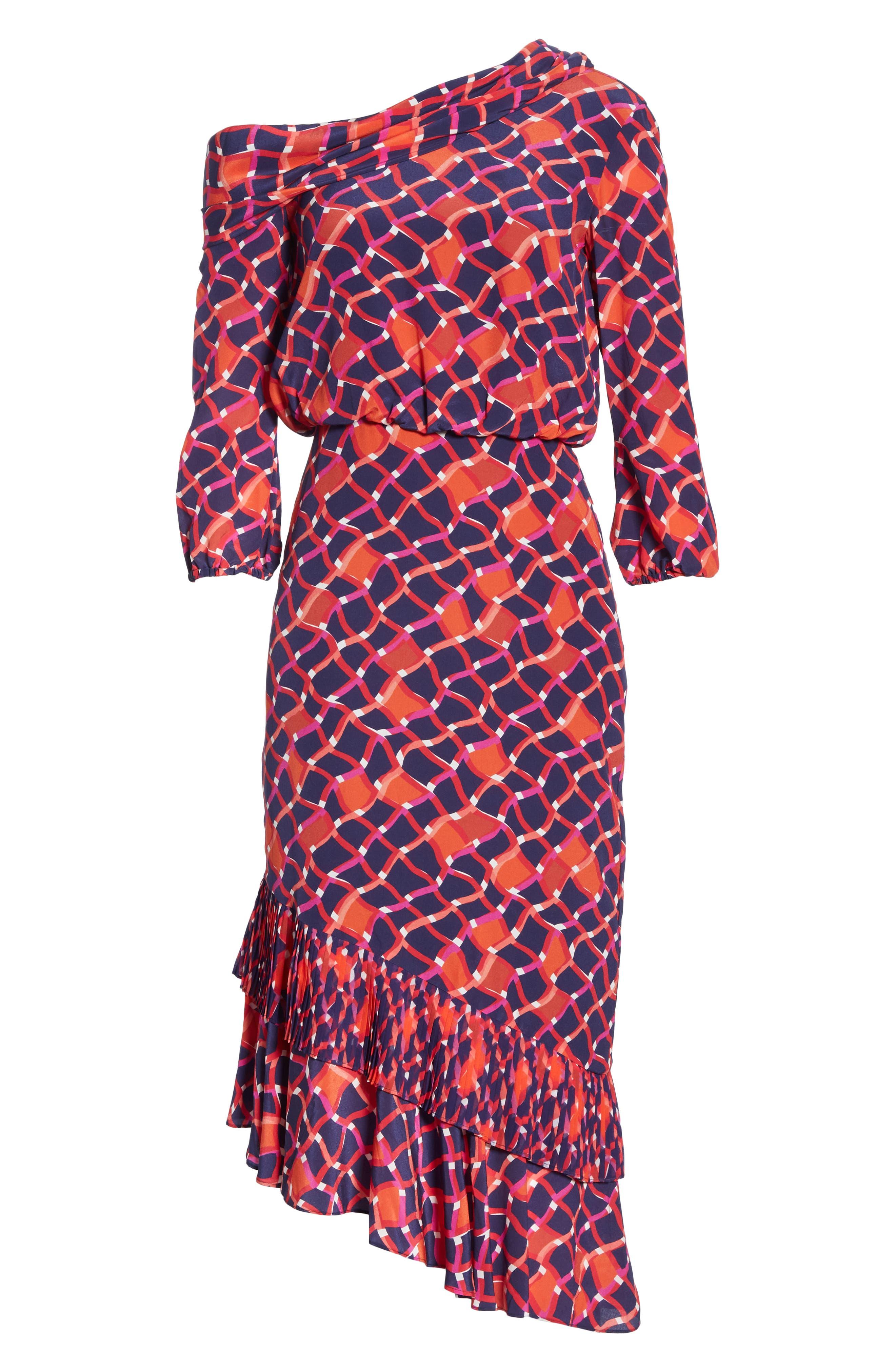 SALONI, Lexie Silk Asymmetrical Dress, Alternate thumbnail 6, color, MAZE
