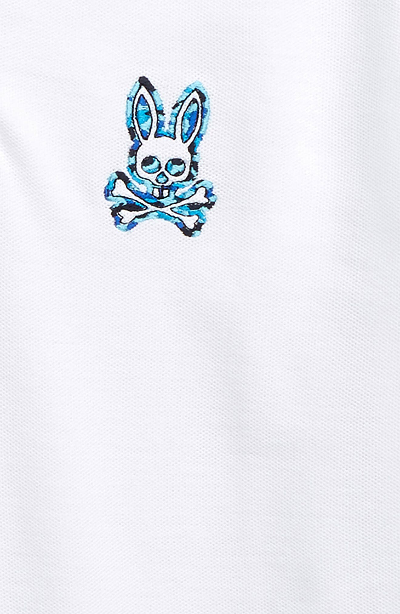 PSYCHO BUNNY, Neon Camo Embroidered Polo, Alternate thumbnail 2, color, WHITE