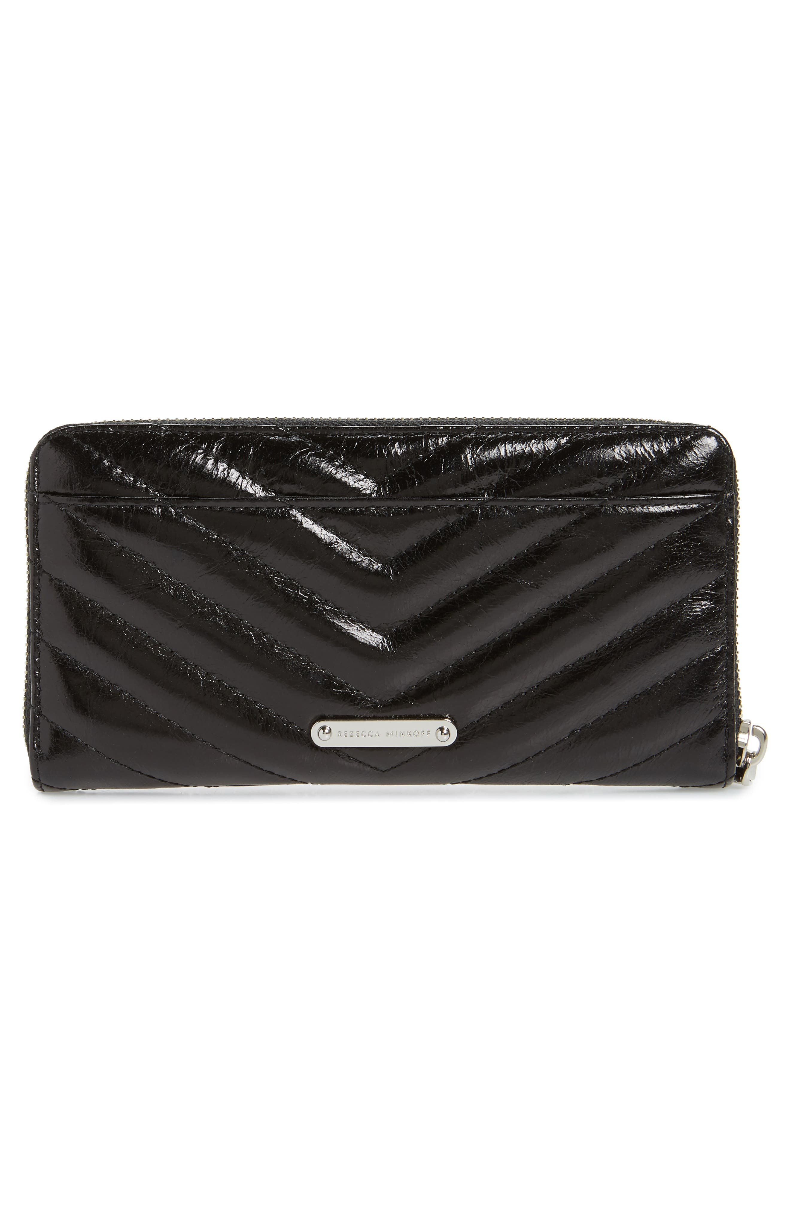 REBECCA MINKOFF, Quilted Wallet, Alternate thumbnail 3, color, BLACK