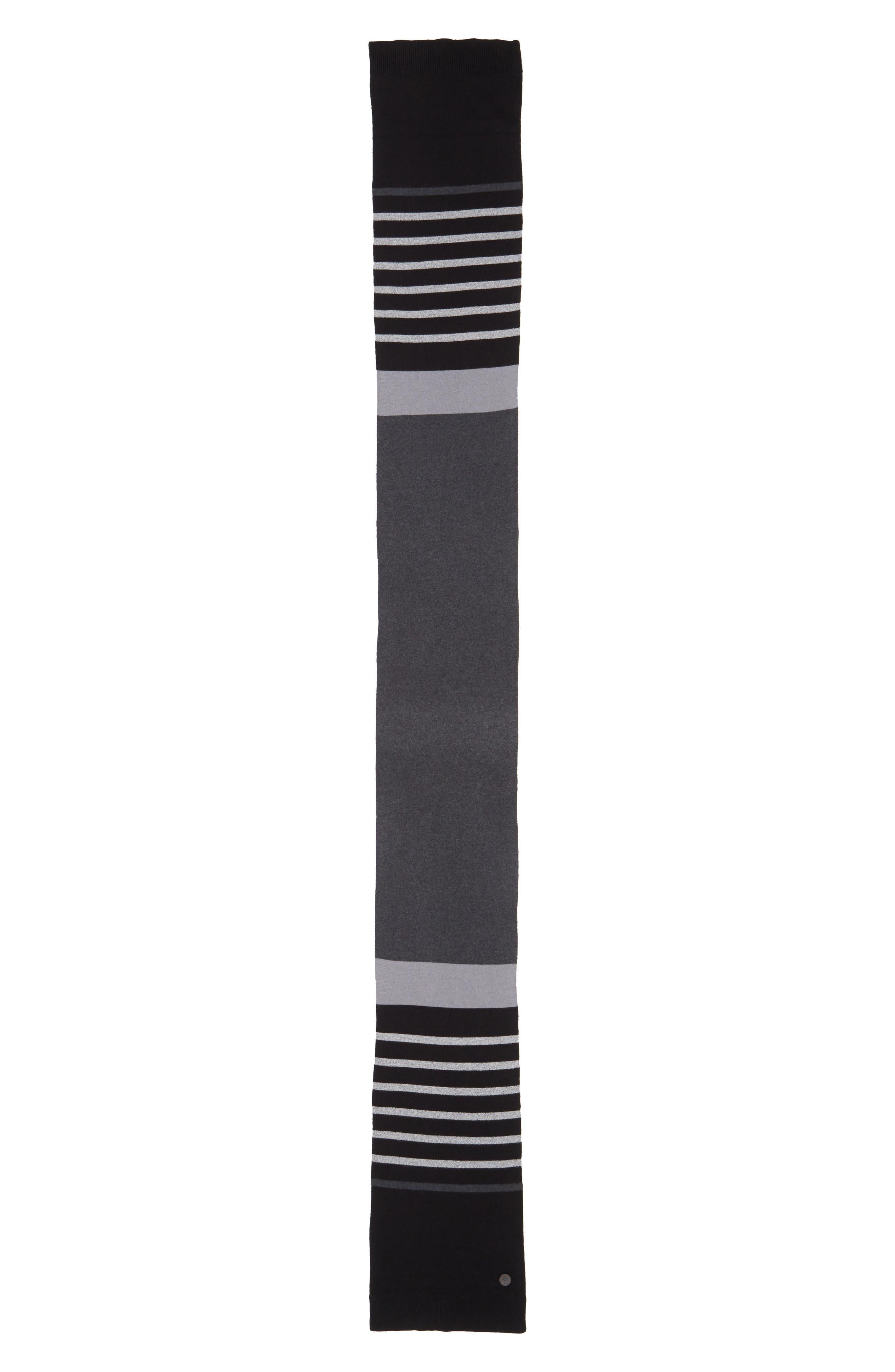 TED BAKER LONDON, Stripe Scarf, Alternate thumbnail 2, color, 001