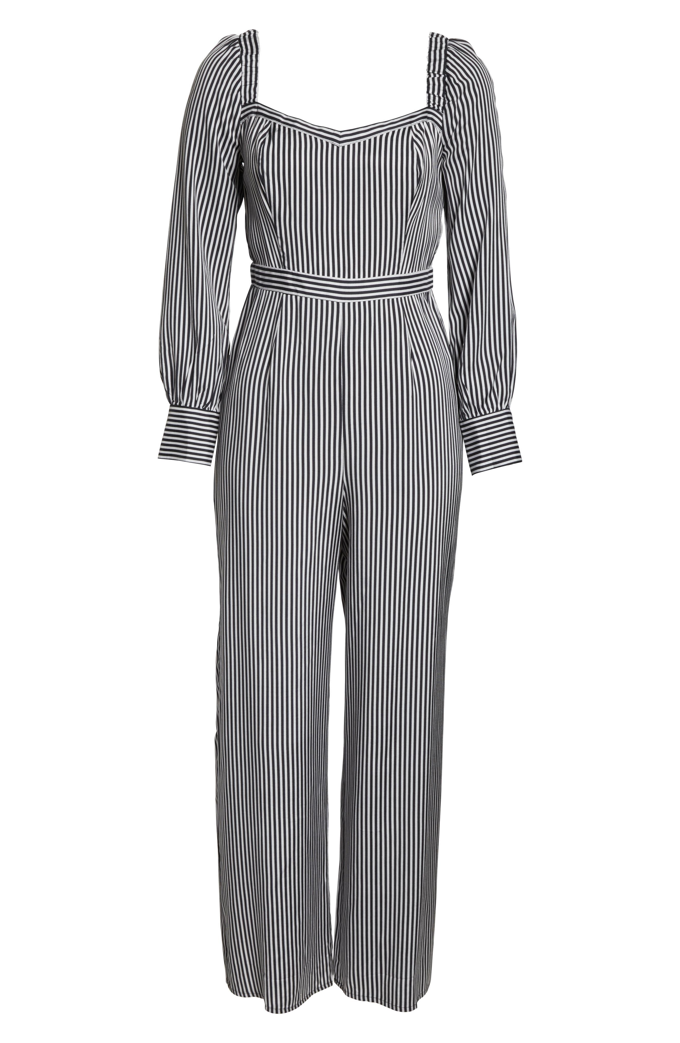 ALI & JAY, Retro Stripe Jumpsuit, Alternate thumbnail 7, color, BLACK/ WHITE