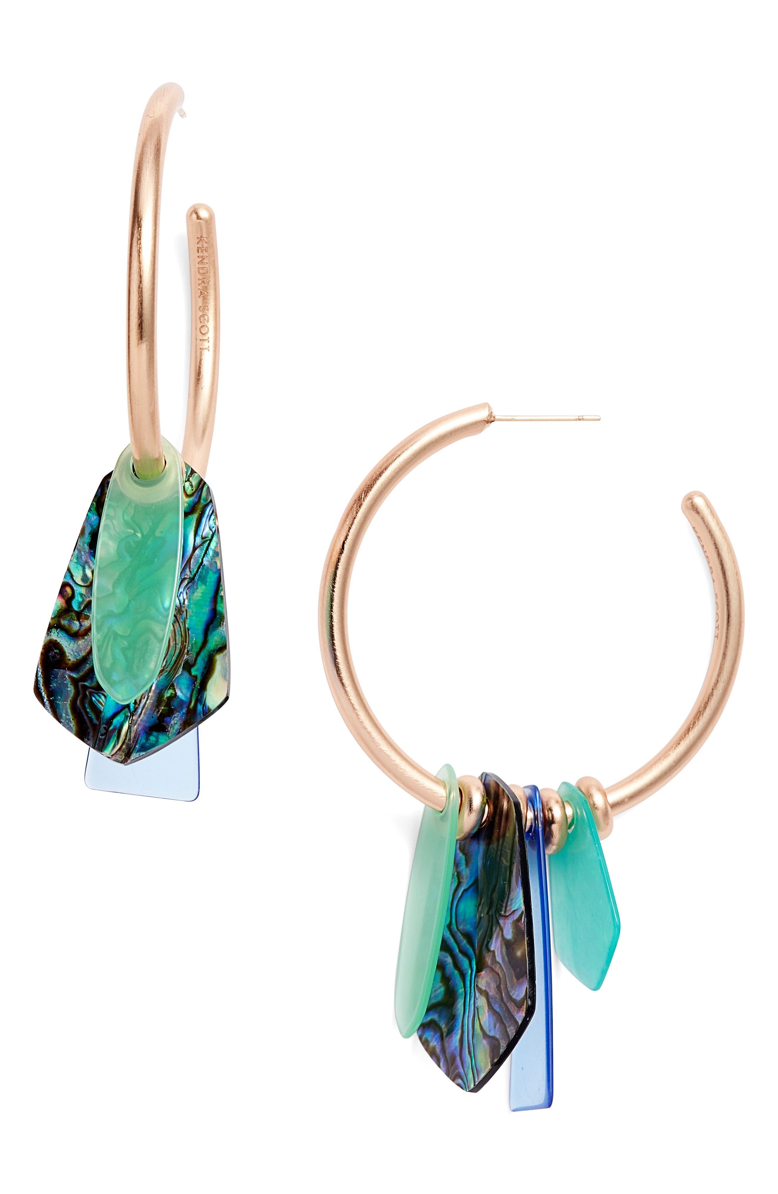 KENDRA SCOTT, Gaby Hoop Earrings, Main thumbnail 1, color, ABALONE MIX/ ROSE GOLD
