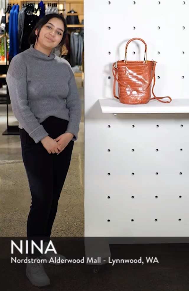 Croc Embossed Faux Leather Tote, sales video thumbnail