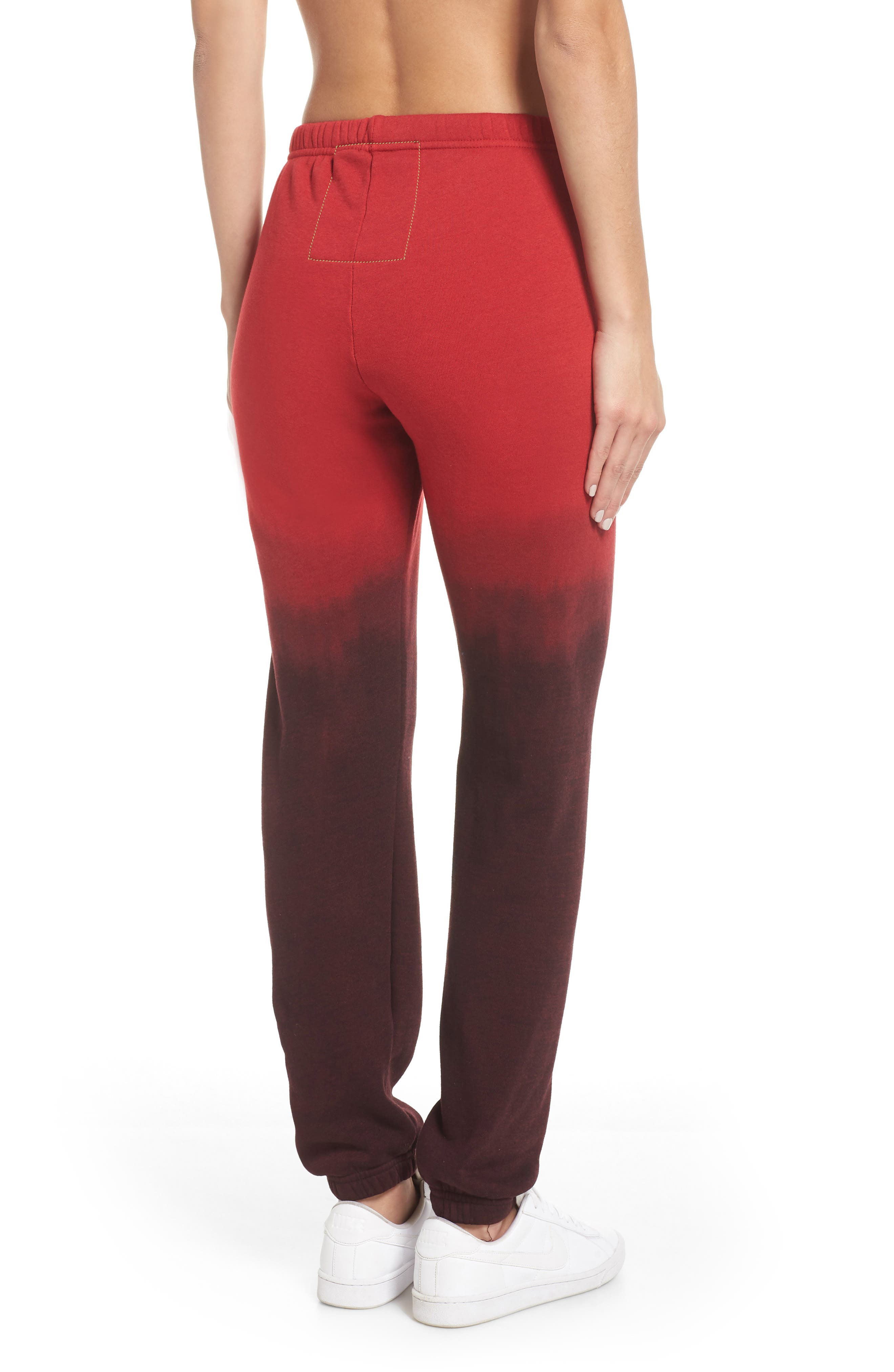 AVIATOR NATION, Faded Sweatpants, Alternate thumbnail 2, color, RED / CHARCOAL