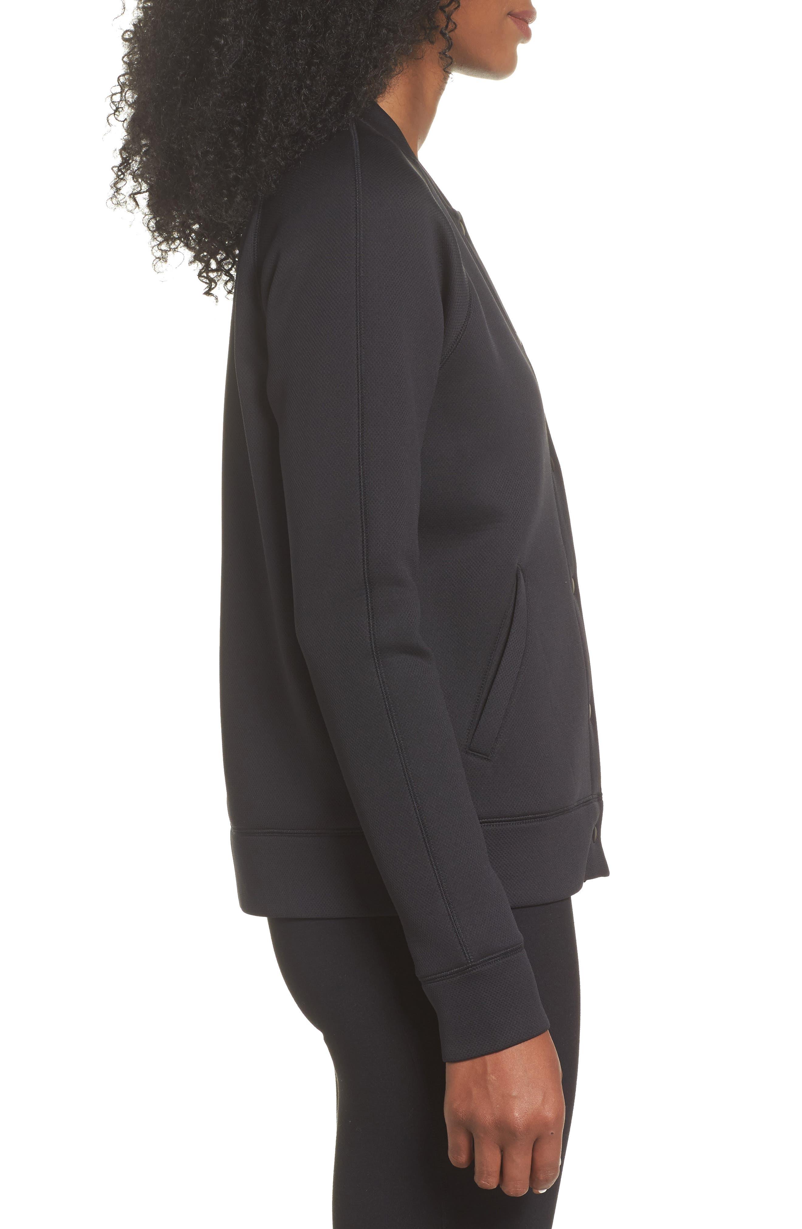 ZELLA, Arise Luxe Bomber Jacket, Alternate thumbnail 5, color, BLACK