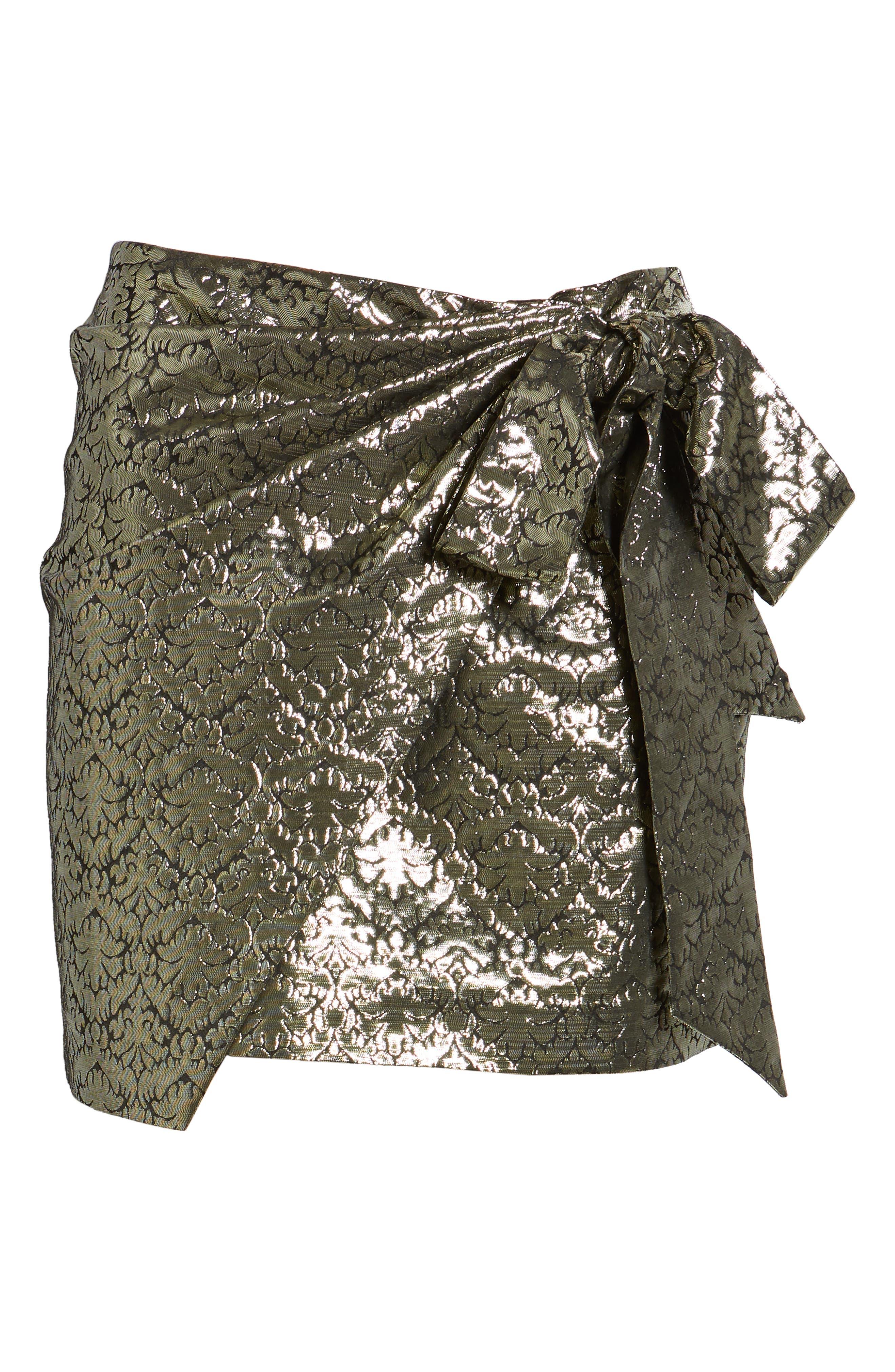 REBECCA MINKOFF, Augustina Shimmering Jacquard Faux Wrap Skirt, Alternate thumbnail 6, color, 710