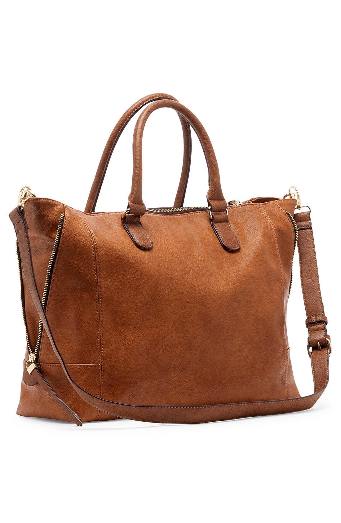 SOLE SOCIETY, 'Susan' Winged Faux Leather Tote, Alternate thumbnail 4, color, BROWN