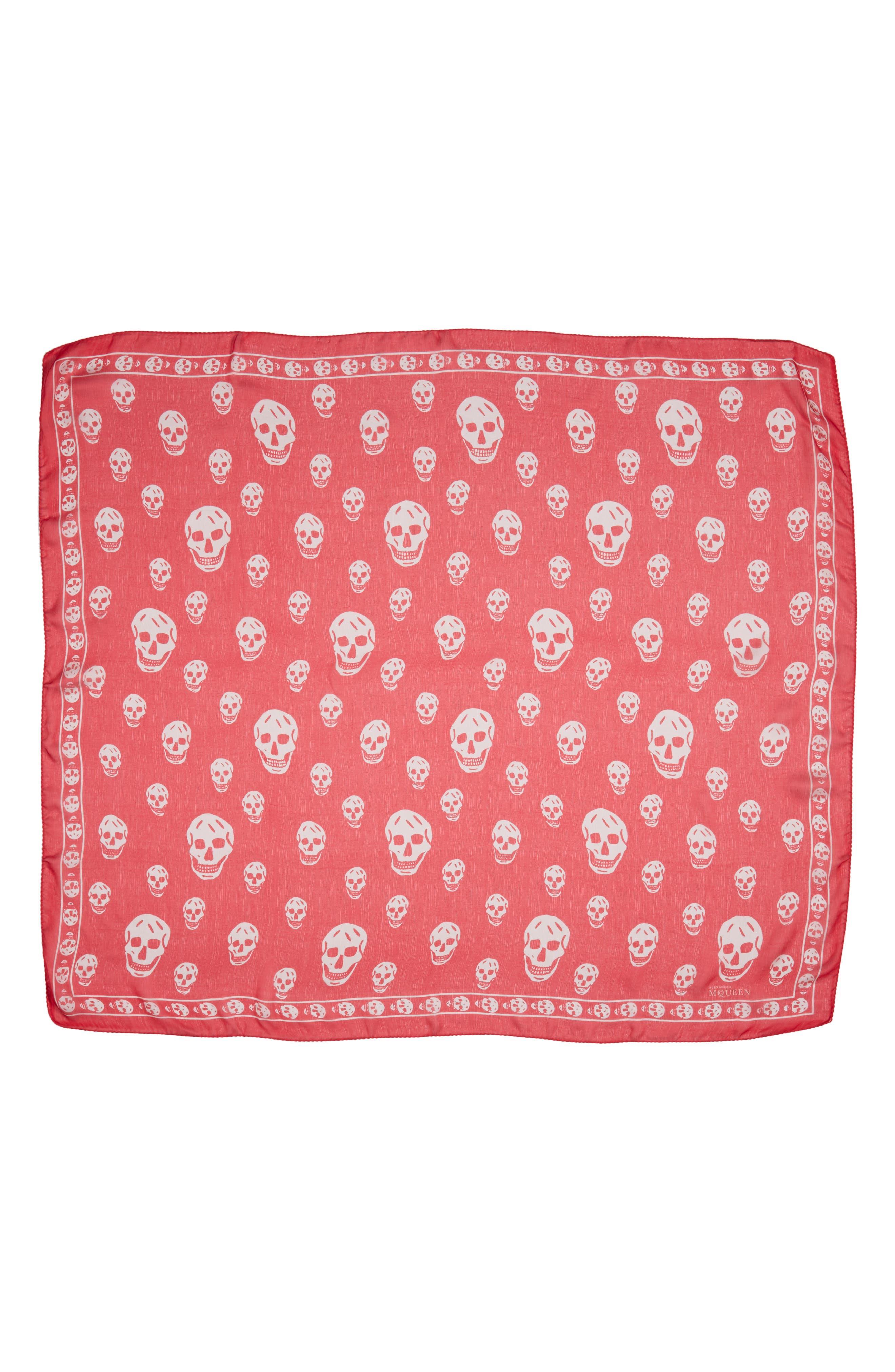 ALEXANDER MCQUEEN, 'Skull' Chiffon Scarf, Main thumbnail 1, color, 608