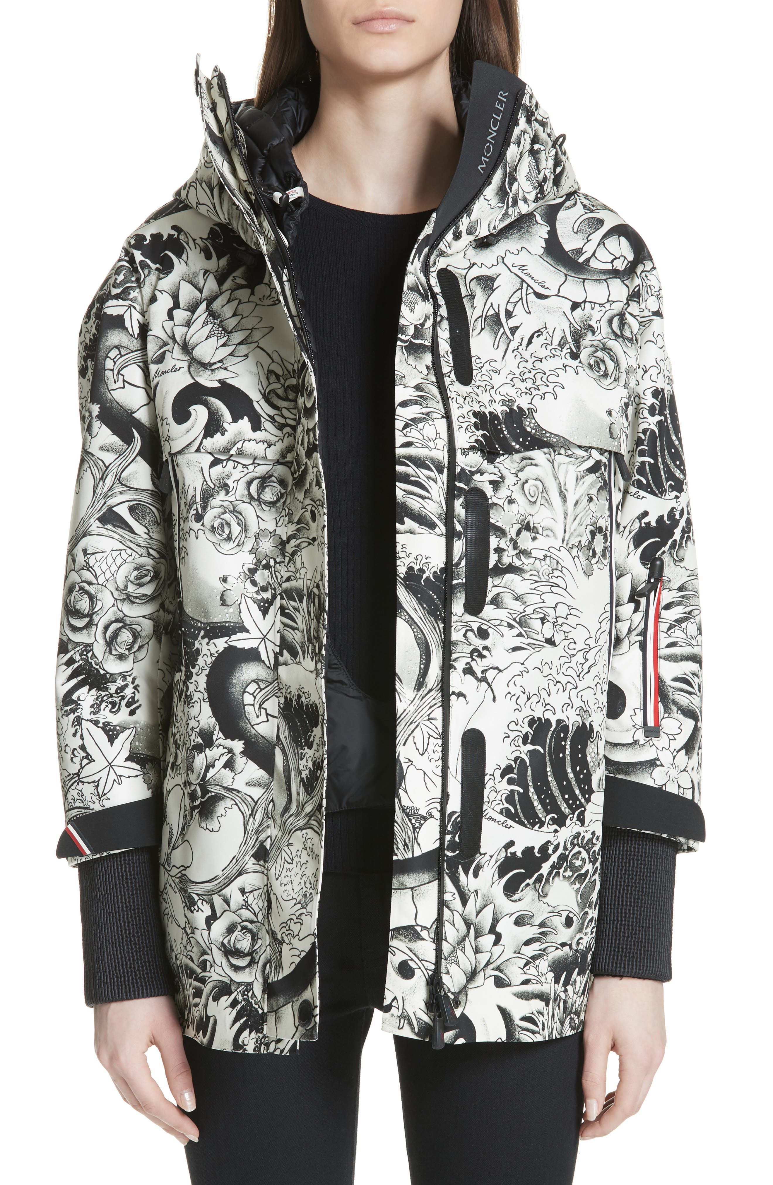 MONCLER, Neves Tattoo Print Hooded Down Coat, Main thumbnail 1, color, BLACK