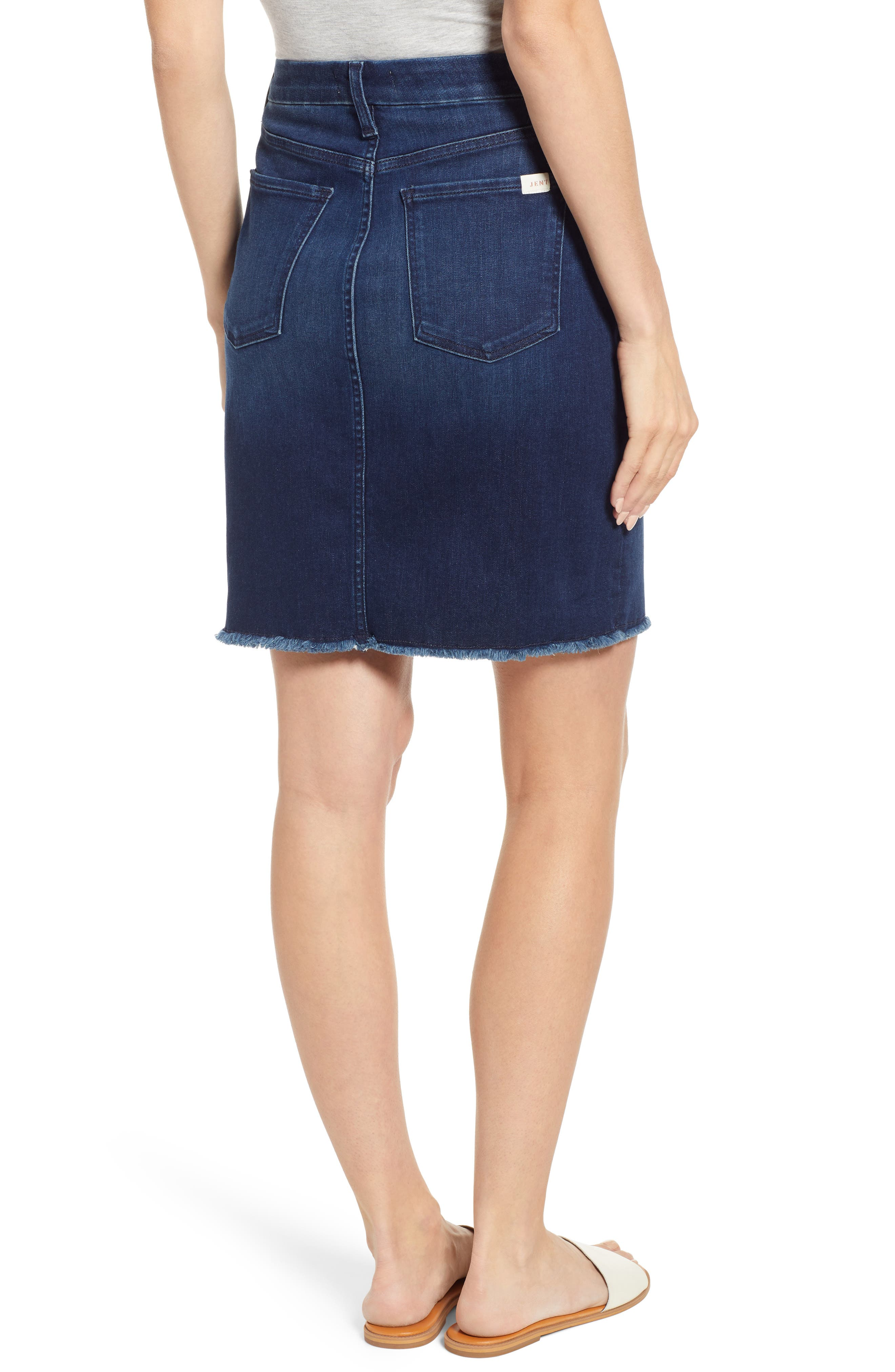 JEN7 BY 7 FOR ALL MANKIND, Raw Hem Denim Pencil Skirt, Alternate thumbnail 2, color, IMPERIAL INDIGO