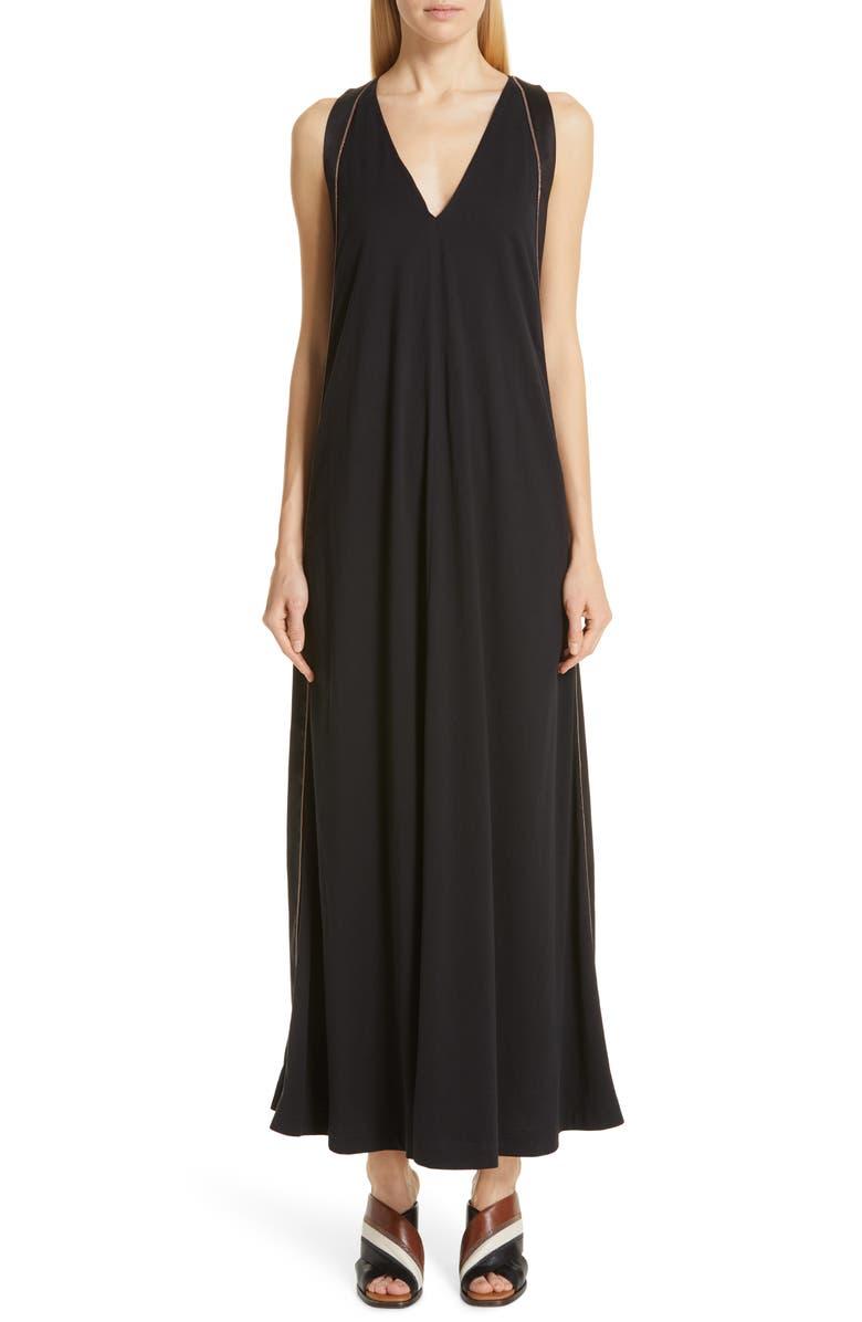 Brunello Cucinelli Dresses MONILI & SATIN TRIM MAXI DRESS