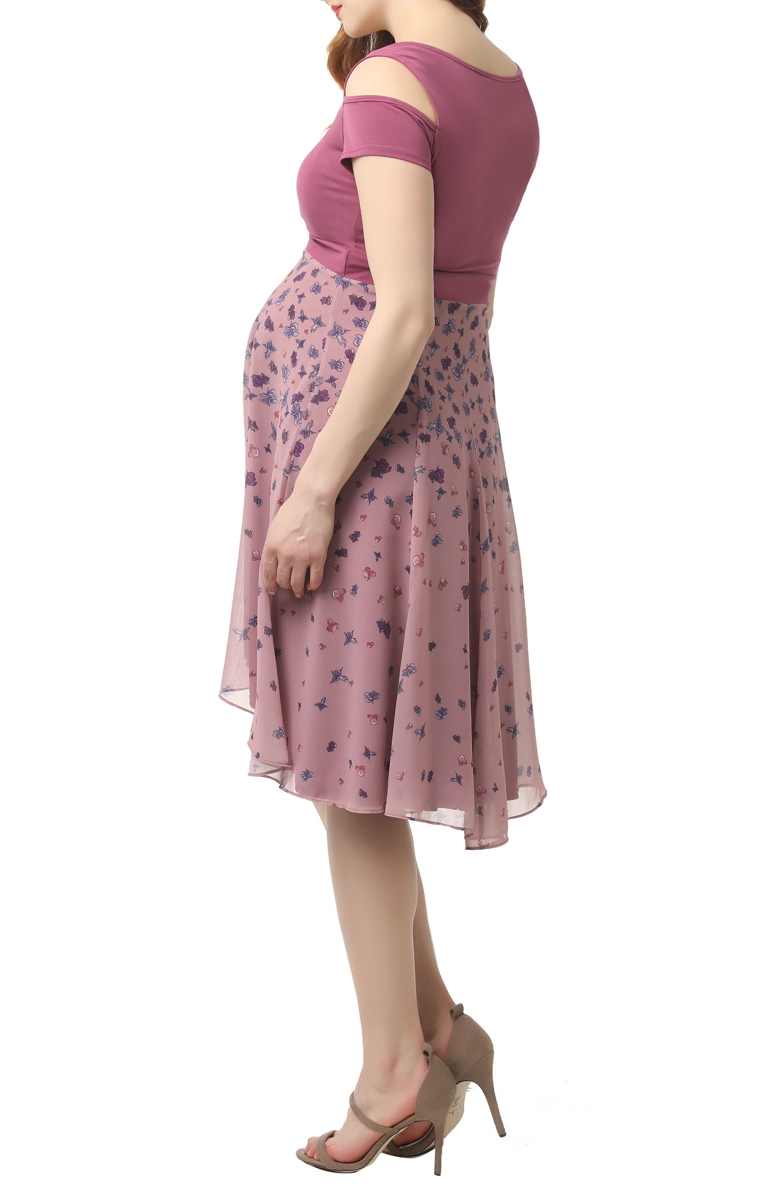 KIMI AND KAI, Erica Cold Shoulder Maternity Dress, Alternate thumbnail 3, color, ROSE PINK