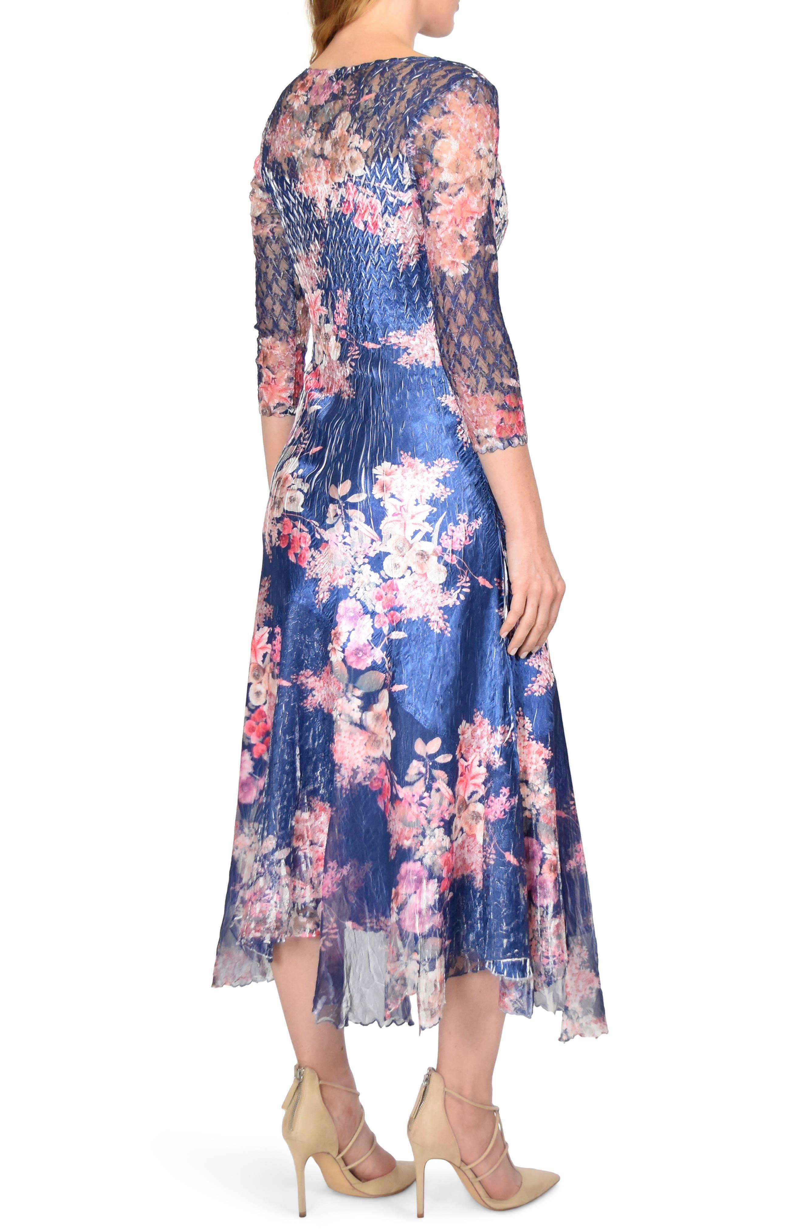 KOMAROV, Asymmetrical Charmeuse & Chiffon Dress, Alternate thumbnail 2, color, ENGLISH BLOSSOM