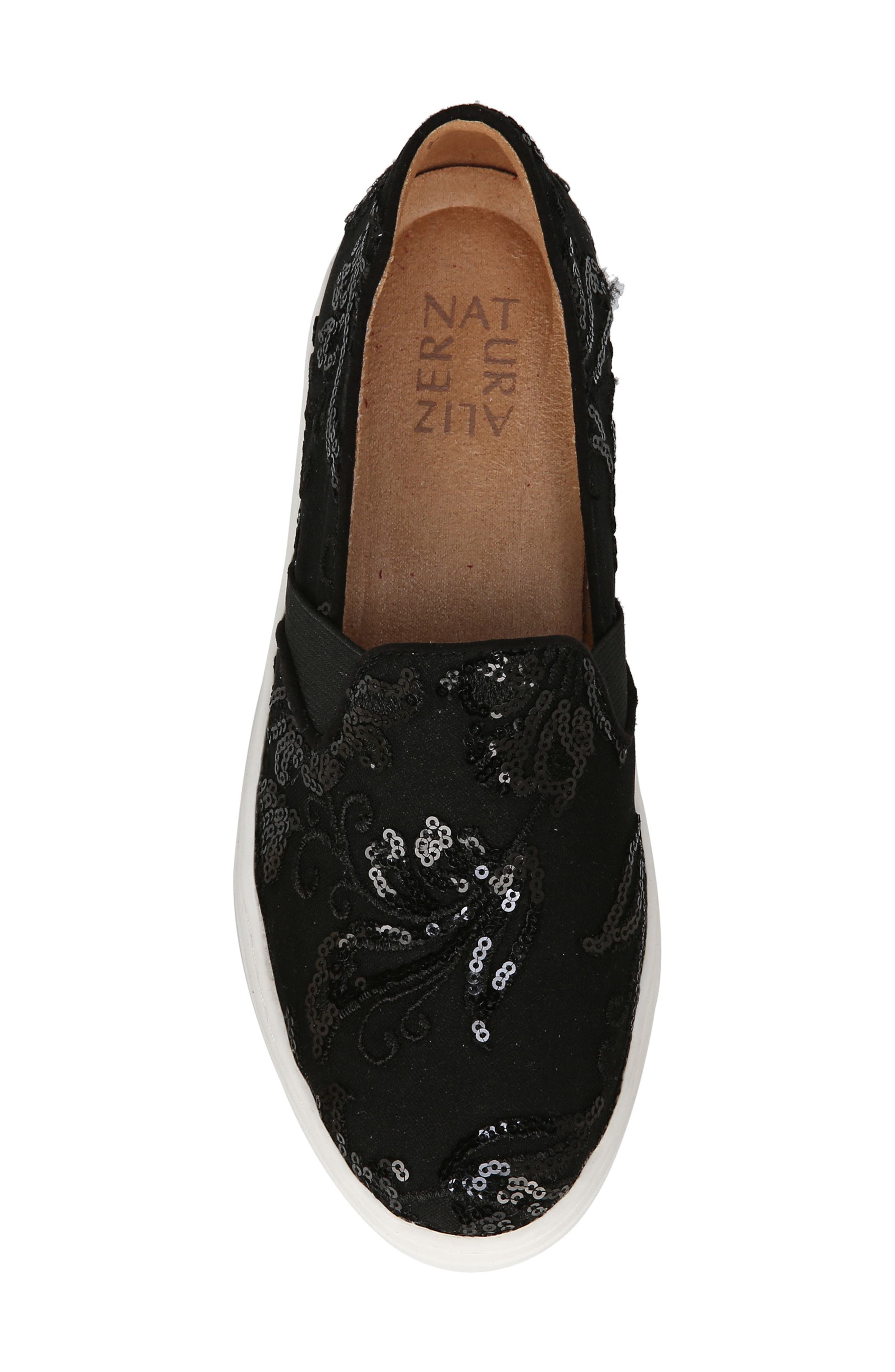 NATURALIZER, Carly Slip-On Sneaker, Alternate thumbnail 5, color, BLACK EMBROIDERED LACE