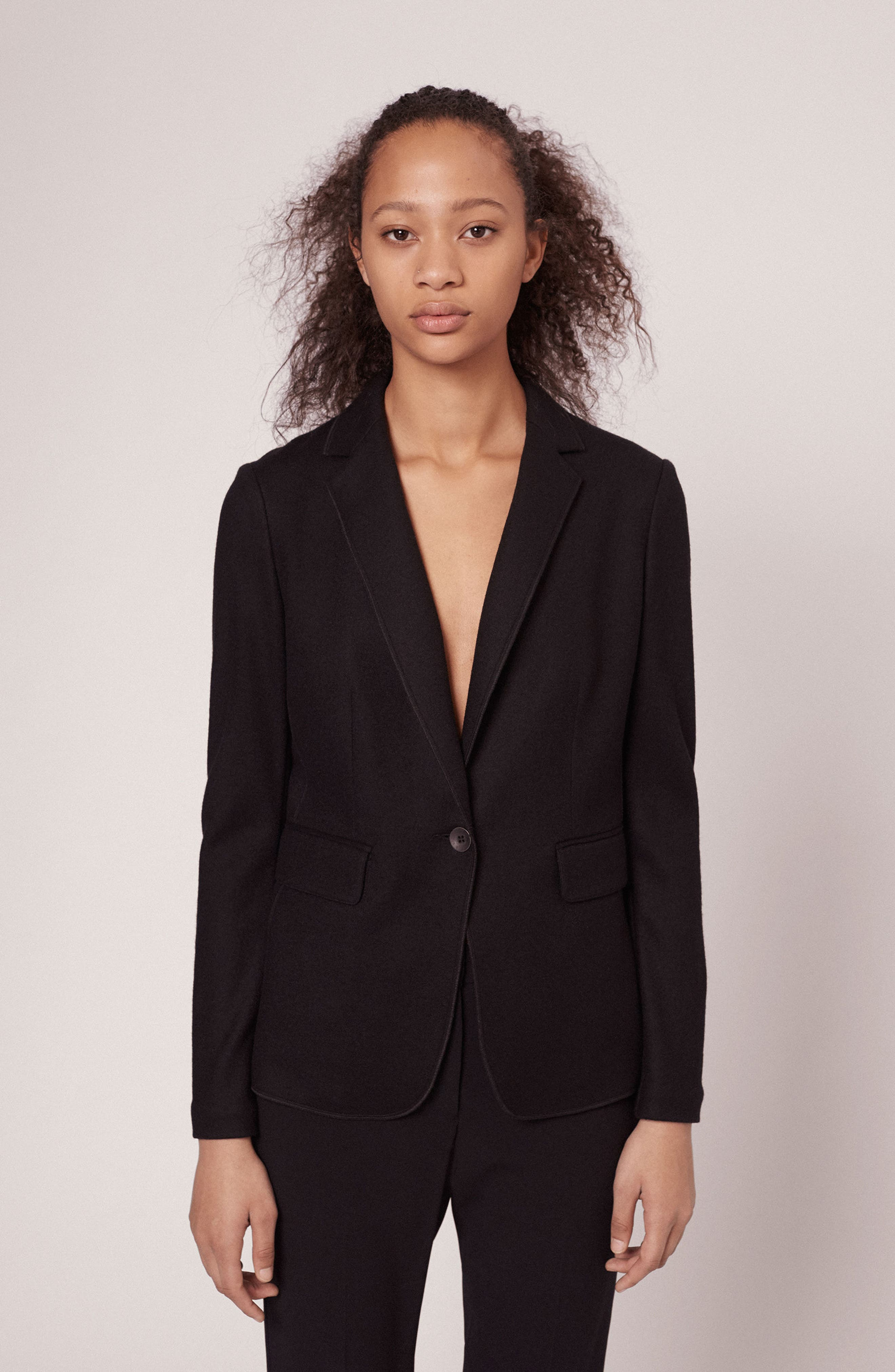 RAG & BONE, Club Wool Blazer, Alternate thumbnail 8, color, BLACK