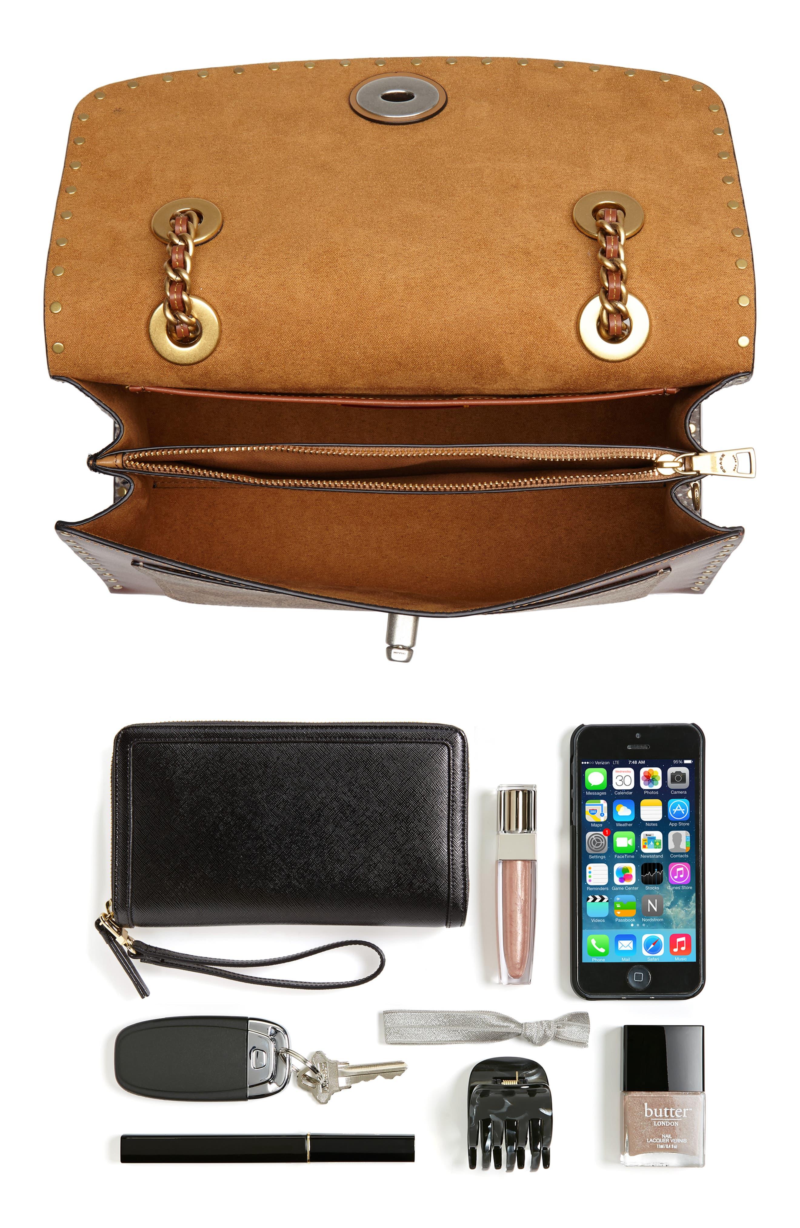COACH, Parker Leather & Genuine Snakeskin Shoulder Bag, Alternate thumbnail 8, color, BLACK MULTI