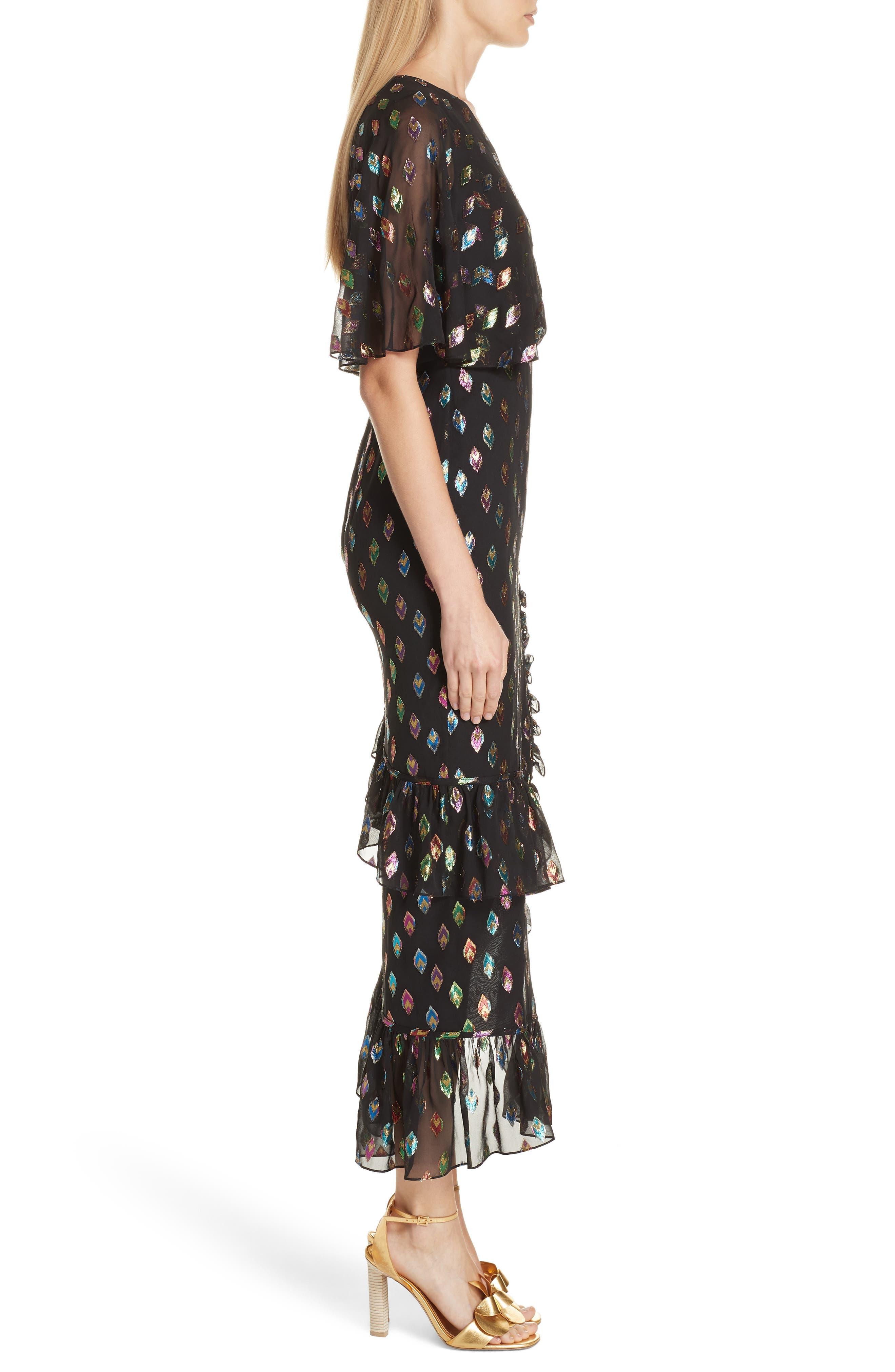 SALONI, Ruffle Hem Silk Blend Dress, Alternate thumbnail 3, color, 003