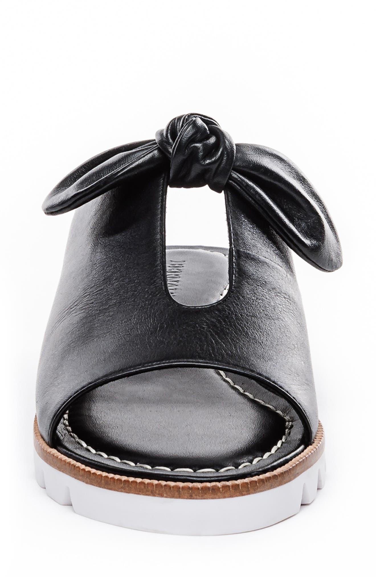 BERNARDO, Alice Bow Slide Sandal, Alternate thumbnail 4, color, BLACK LEATHER