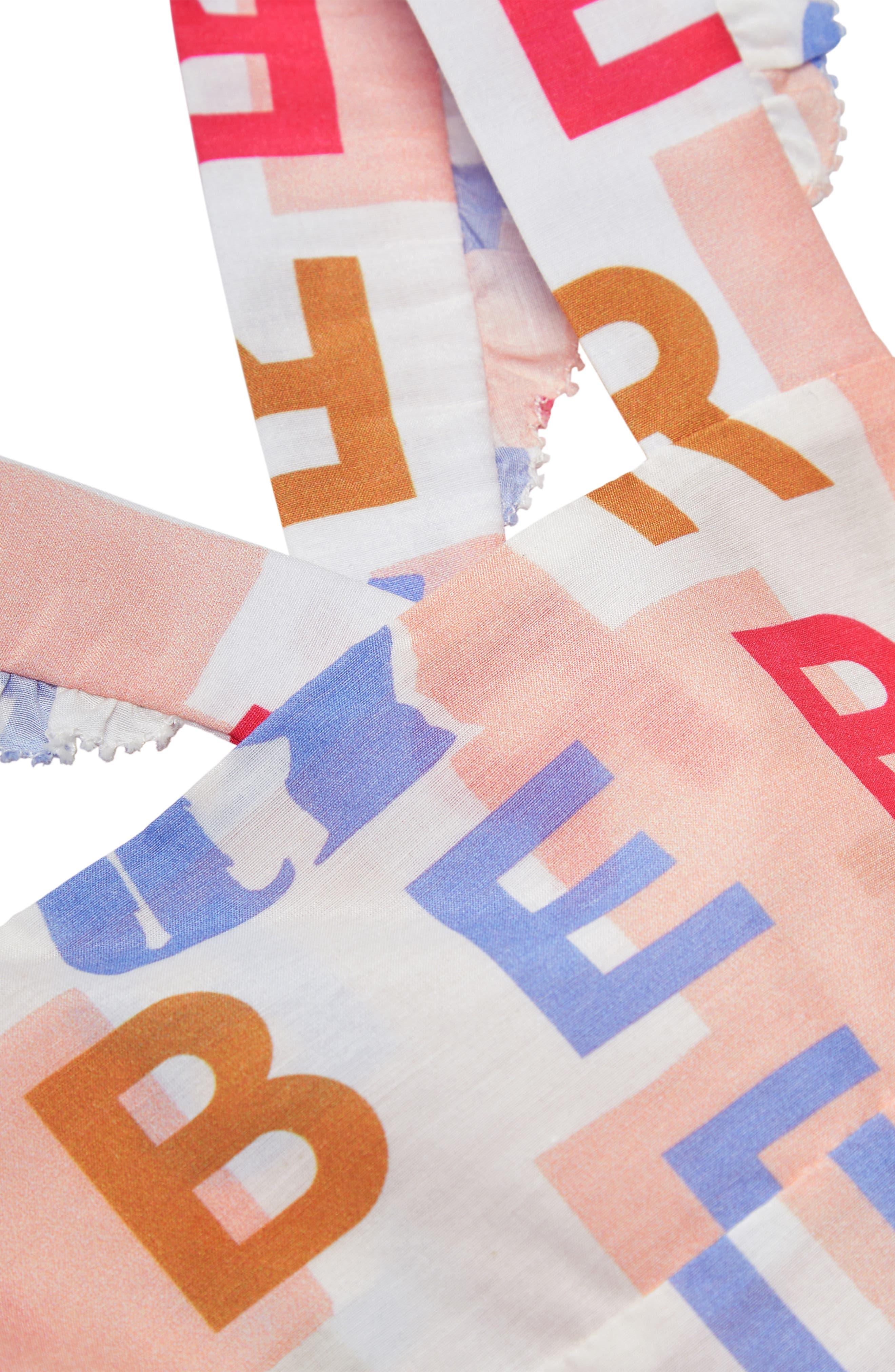 BURBERRY, Burbery Mini Livia Cotton & Silk Pinafore Dress, Alternate thumbnail 3, color, PALE ROSE