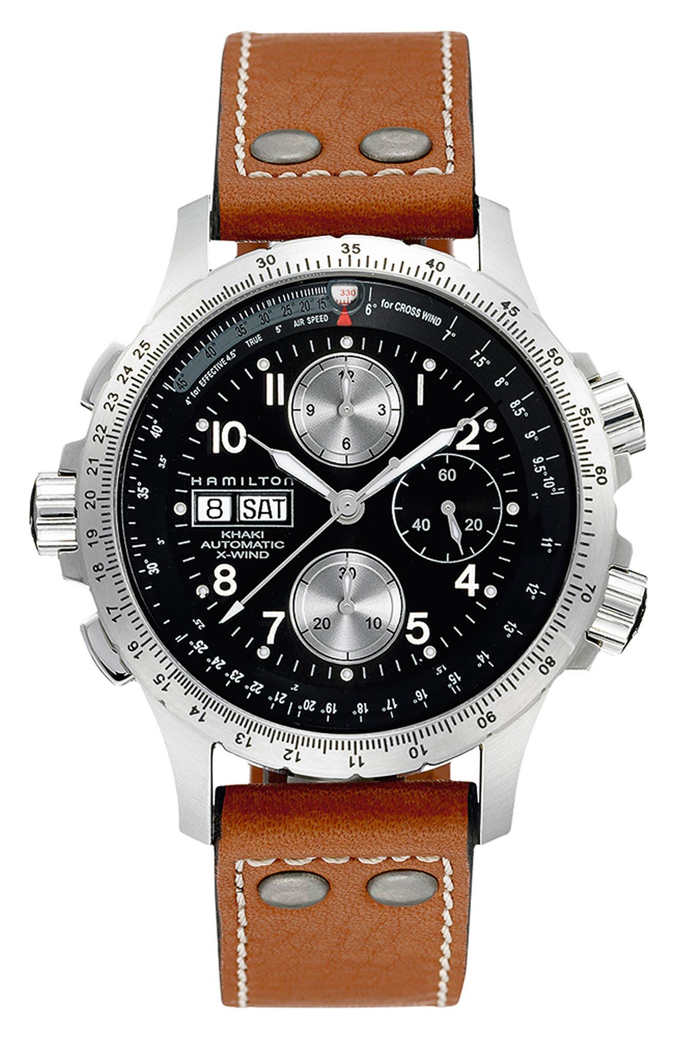 HAMILTON, Khaki Aviation X-Wind Automatic Chronograph Leather Strap Watch, 44mm, Main thumbnail 1, color, BROWN/ BLACK/ SILVER